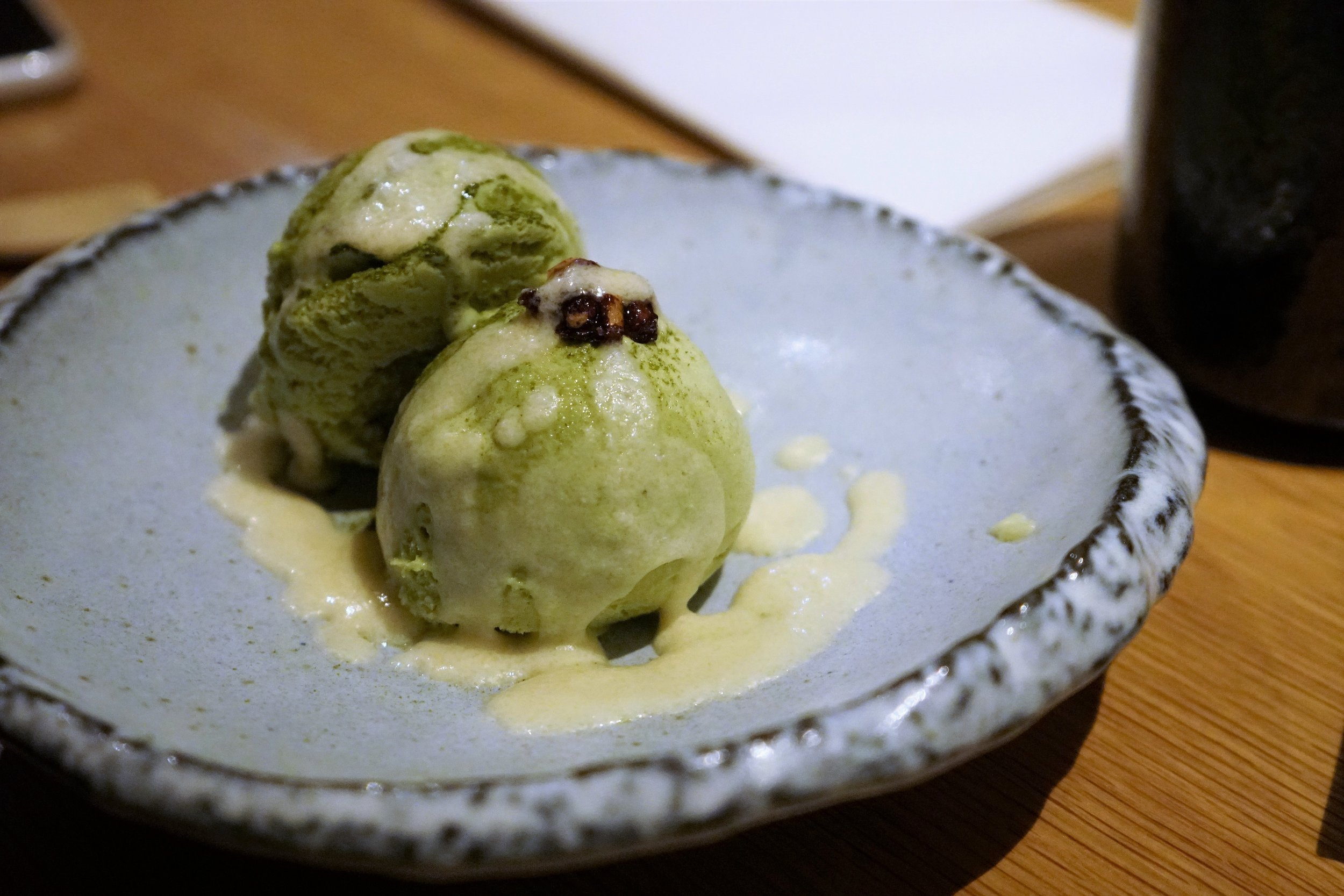 Matcha Ice Cream with Chocolate Sauce at DOMODOMO in New York City