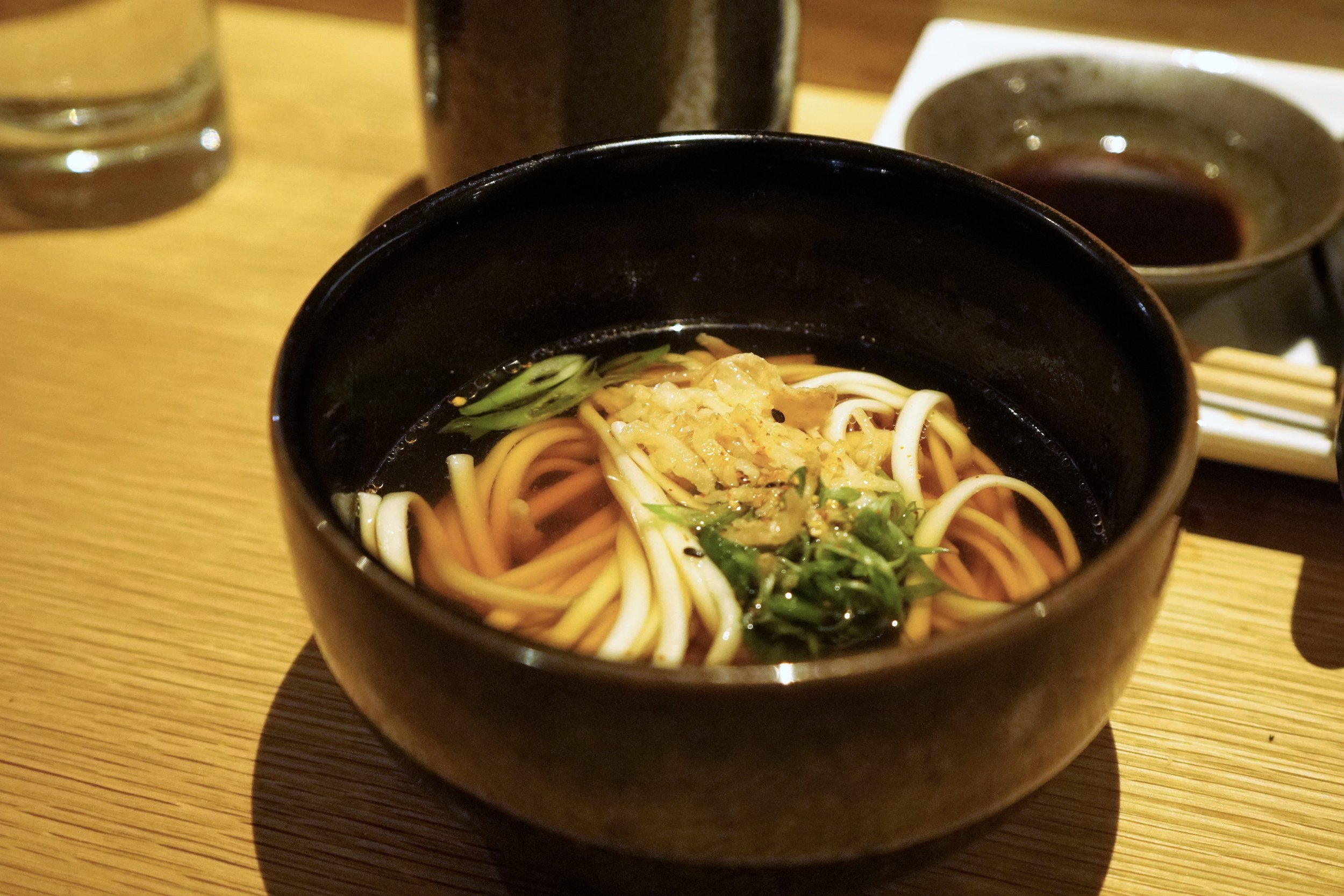 Hot Udon with Spinach and Scallion at DOMODOMO in New York City