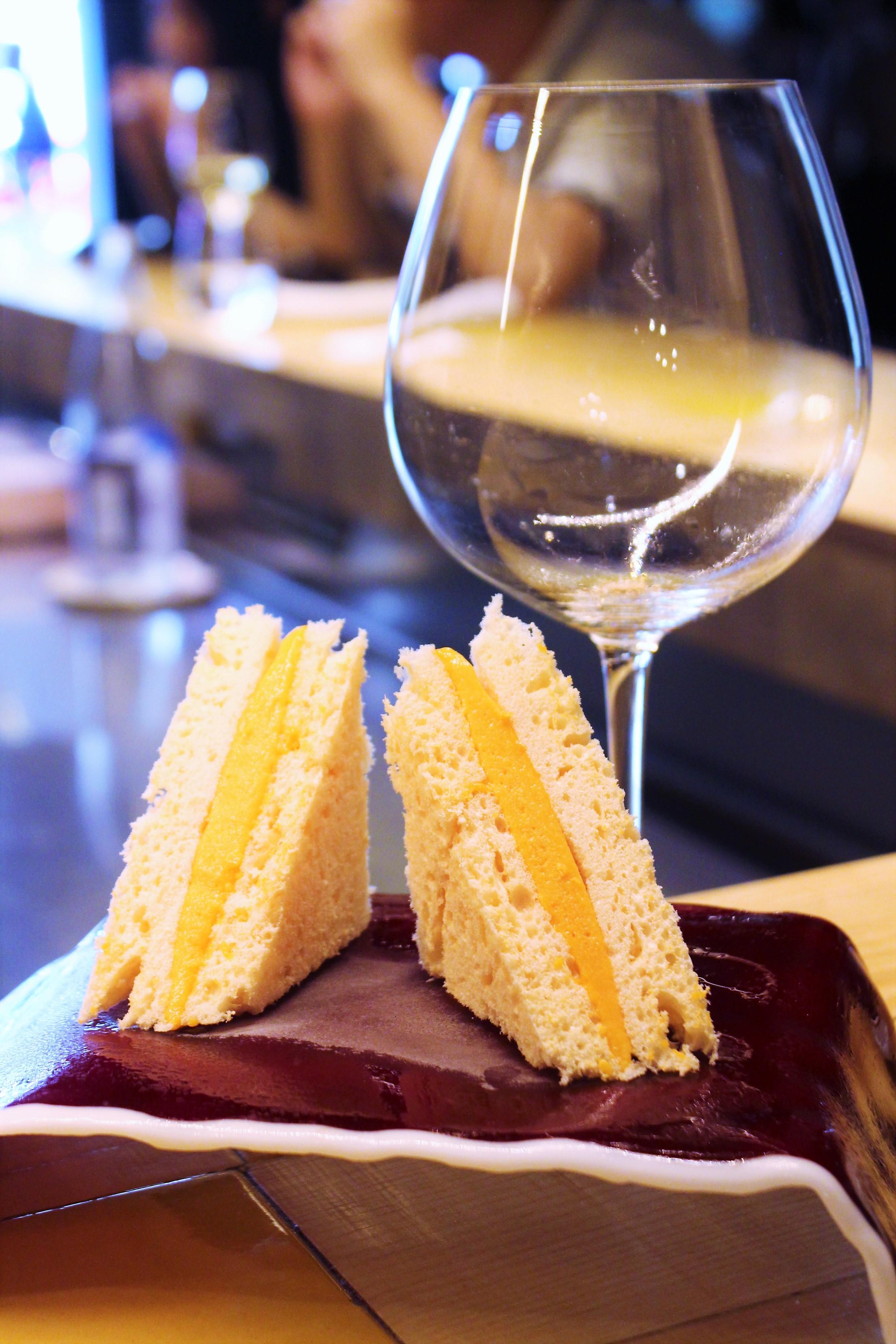 Gazpacho Sandwich with Vinegar Garnish at Disfrutar in Barcelona