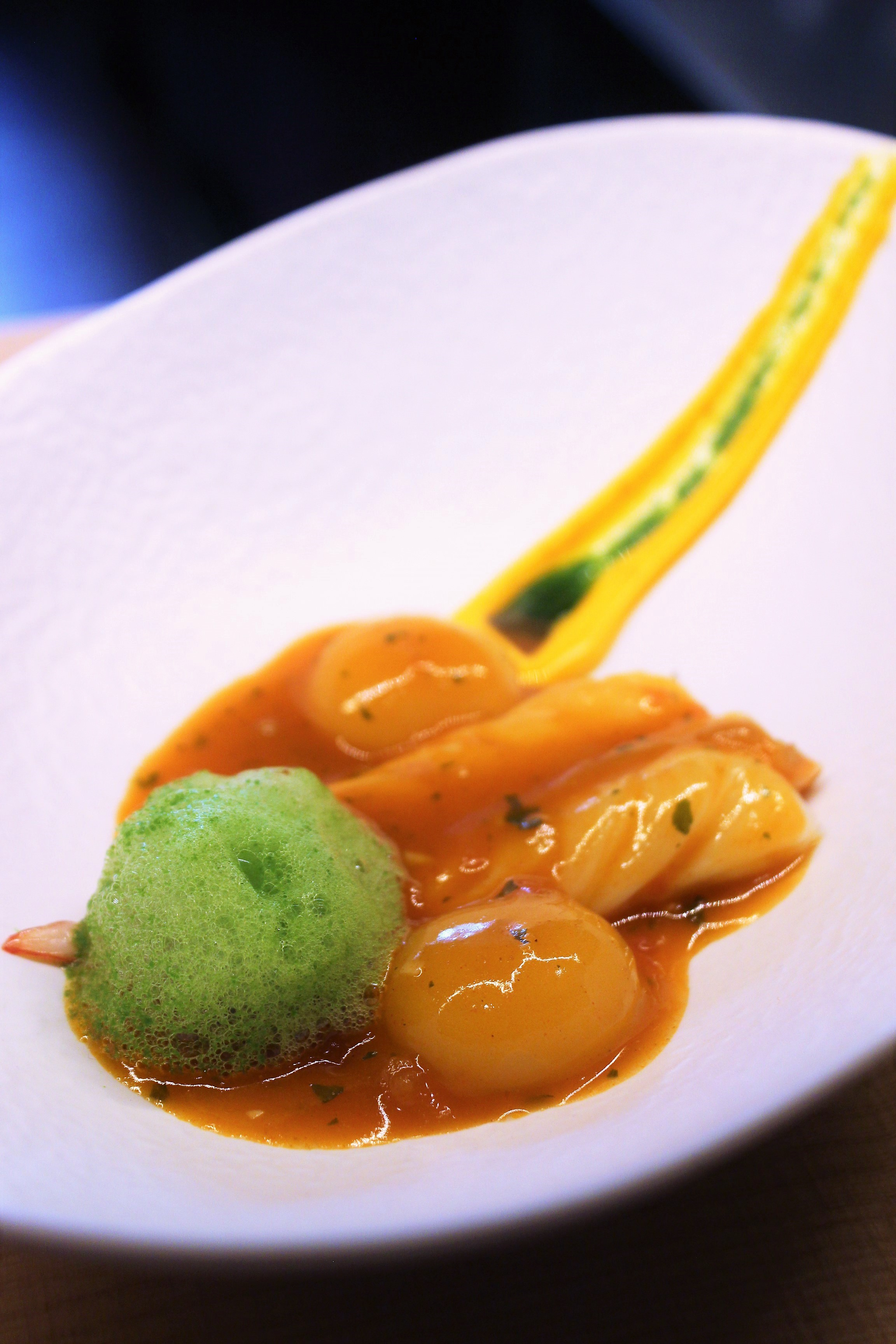 """Langoustine in """"Suquet"""" at Disfrutar in Barcelona"""