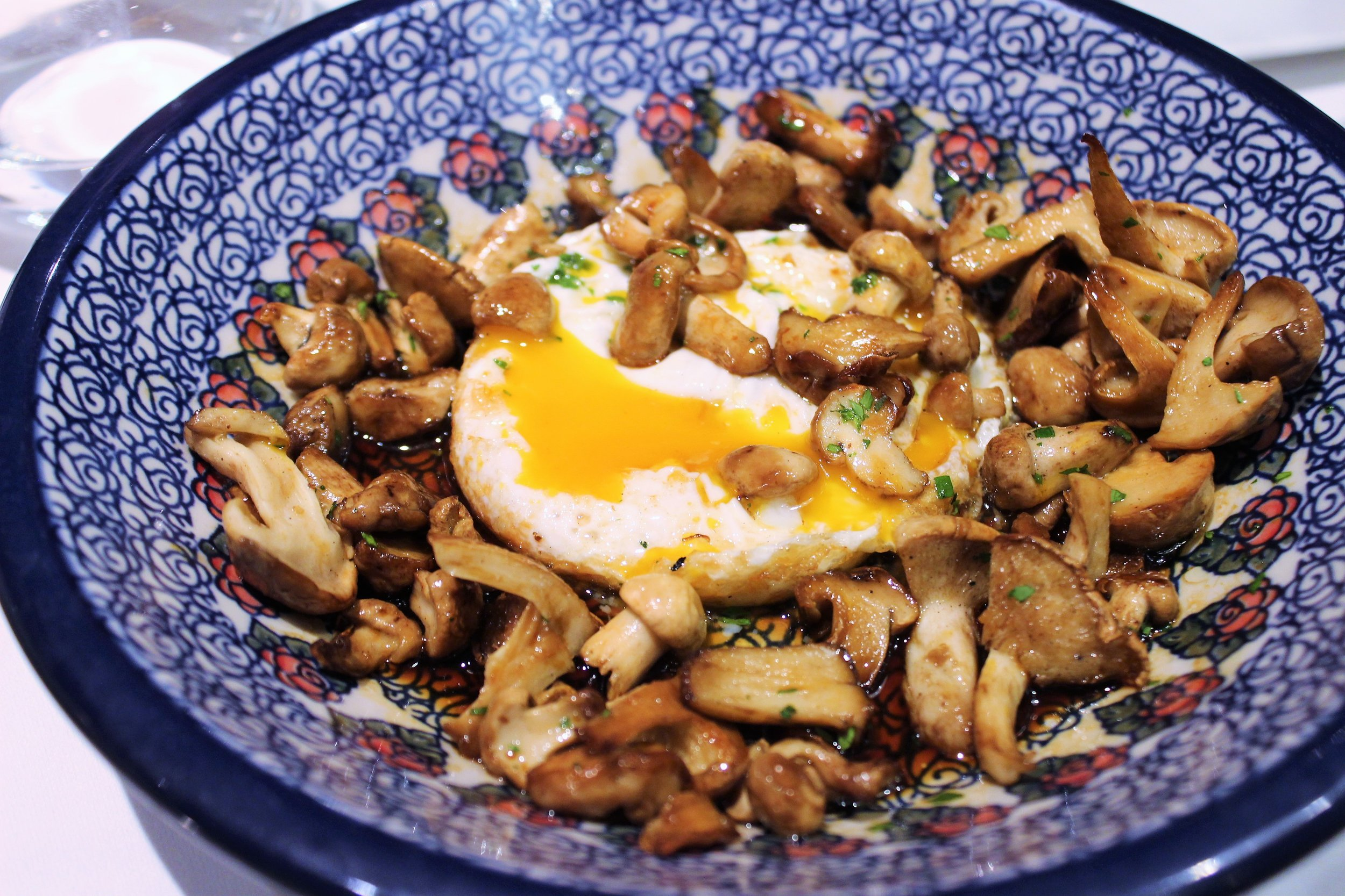 Wild Mushrooms with Farm Egg at Igueldo in Barcelona