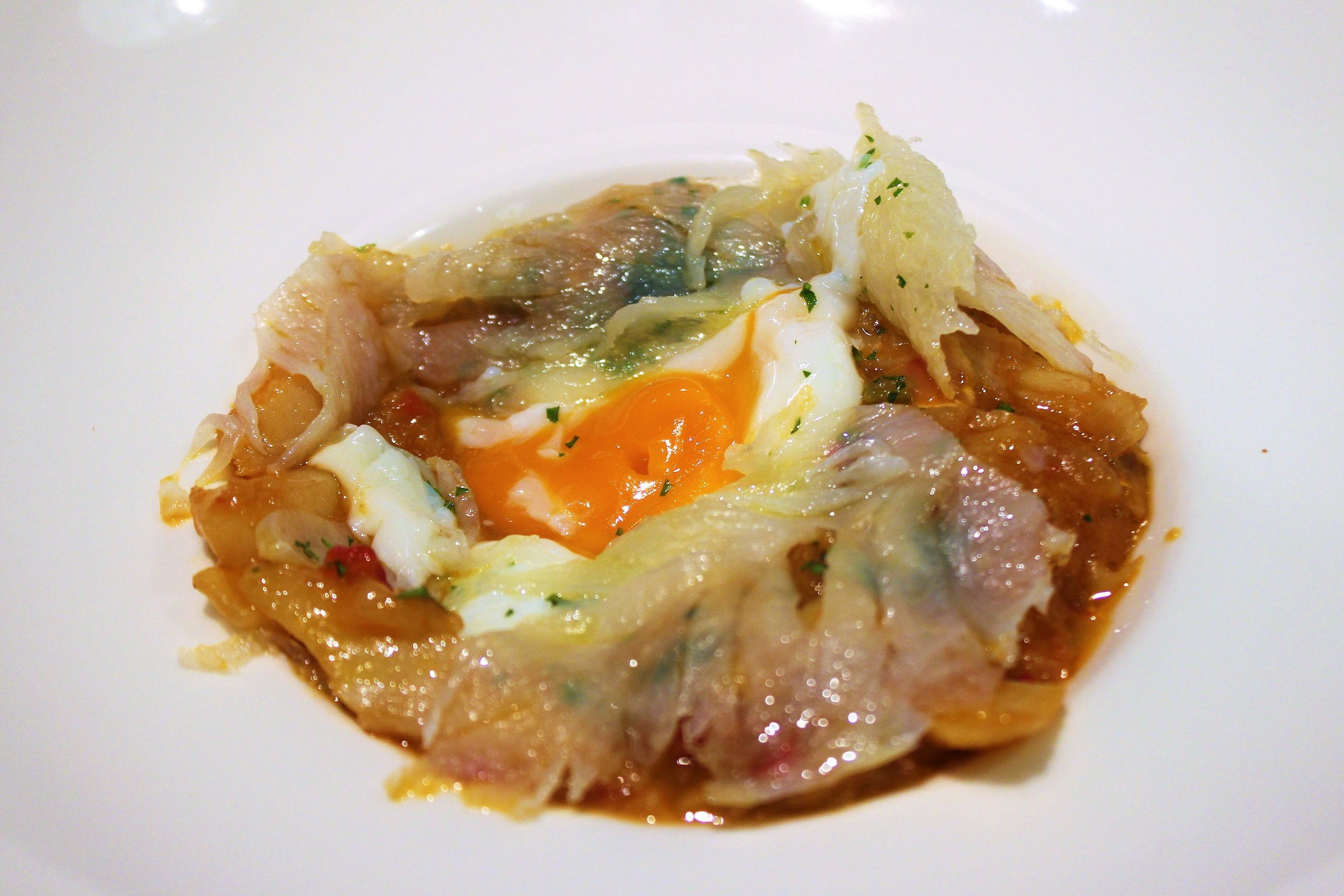 Ajoarriero Cod with Poached Egg at Igueldo in Barcelona