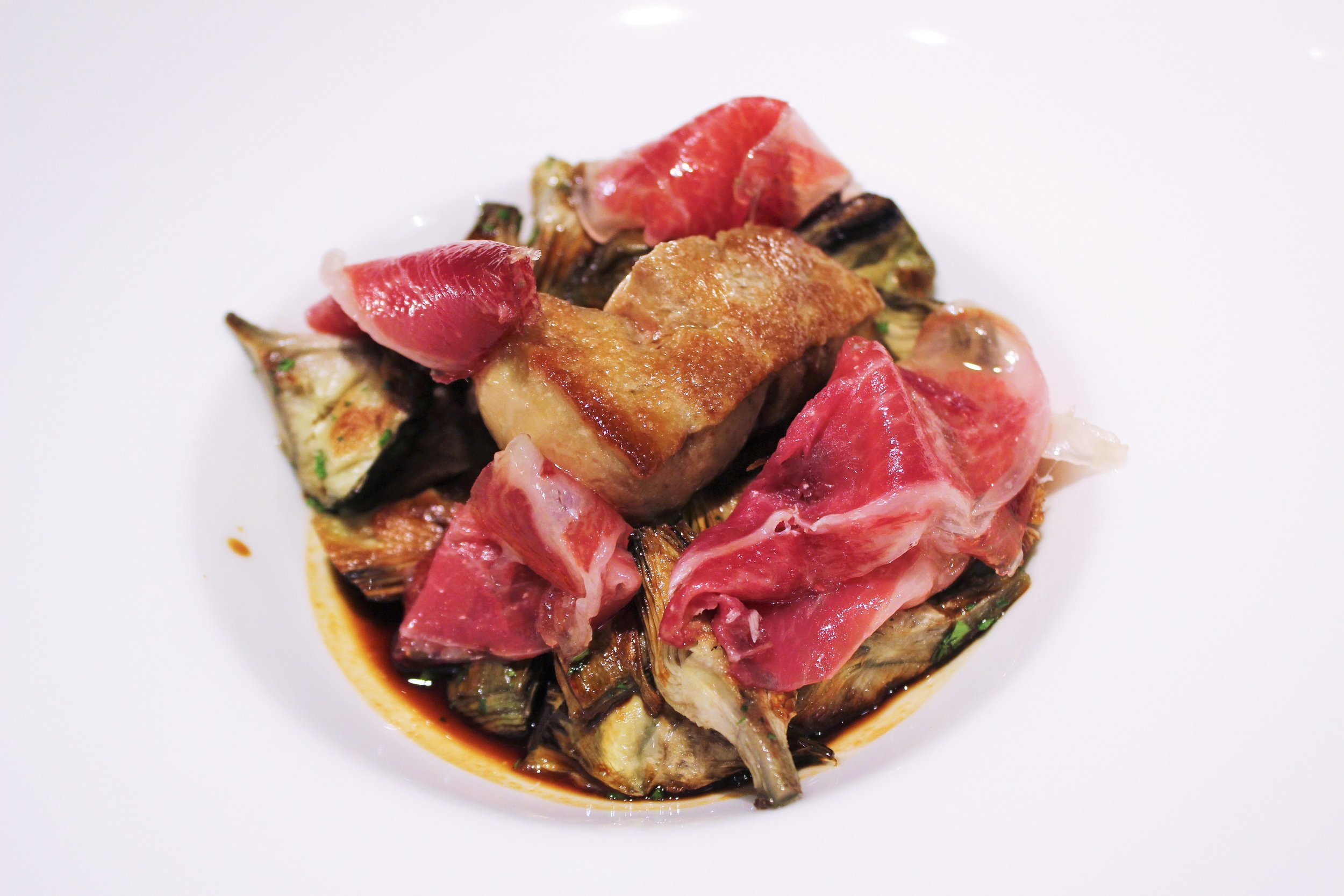 Grilled Artichokes Foie Gras and Iberian Ham at Igueldo in Barcelona