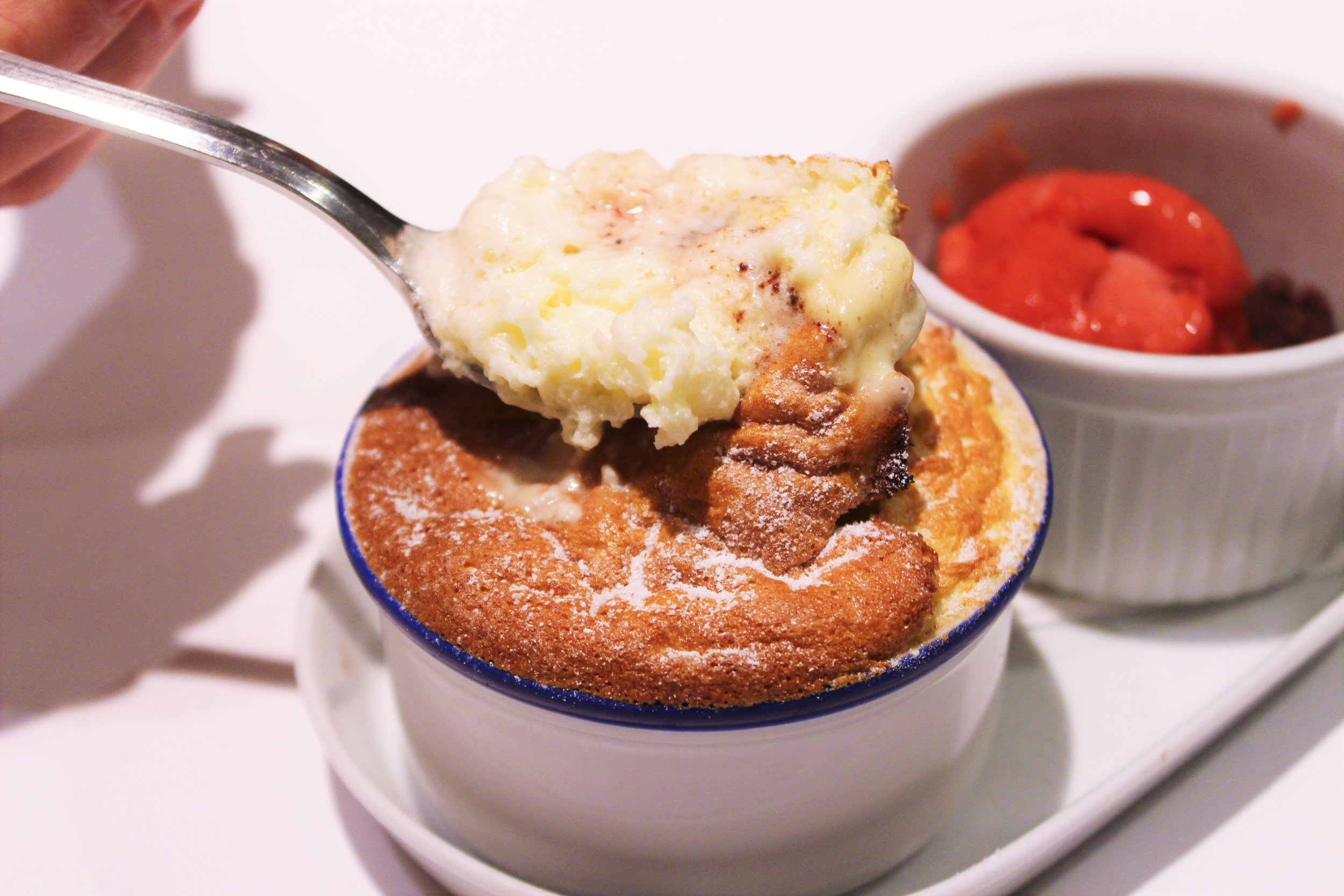 Cream Cheese Souffle with Raspberry Ice Cream at Igueldo in Barcelona