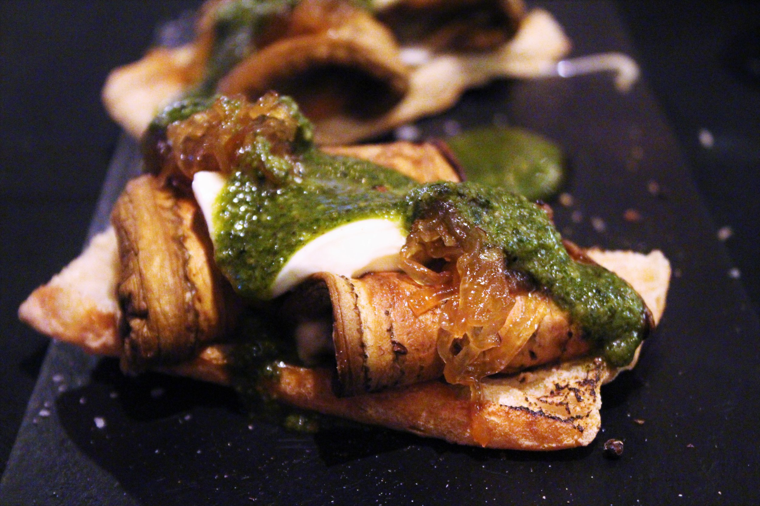 Grilled Aubergine, Mozzarella, and Caramelized Onions with Basil Vinaigrette Torrada at Eldiset in Barcelona