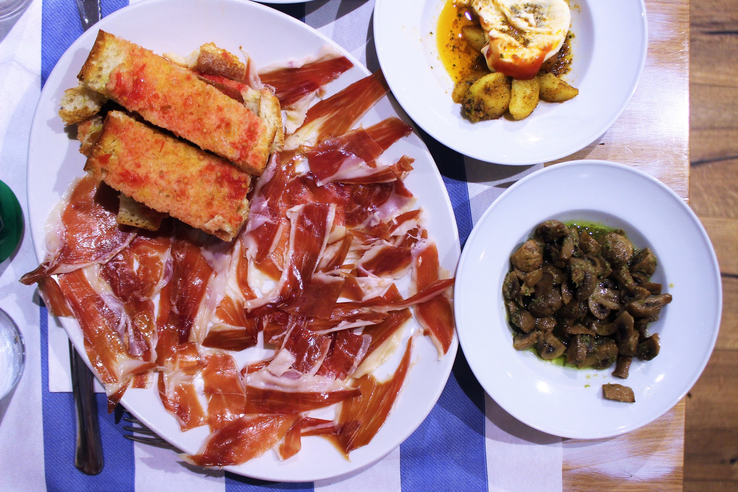 Special Cured Ham from Segovia with Toasted Bread and Tomato at Gustos Bcn in Barcelona