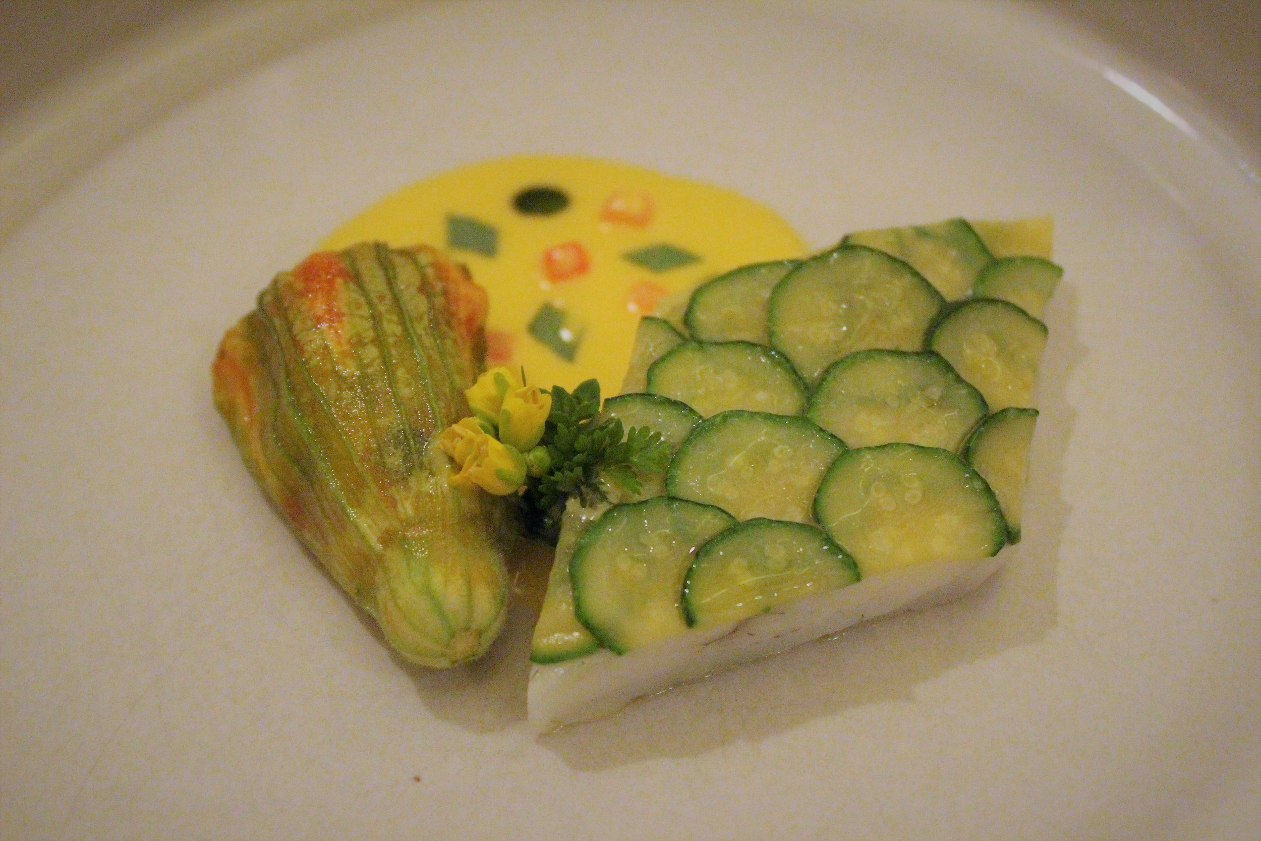 2007 Turbot with Poached Zucchini and Squash Blossom at EMP in New York City
