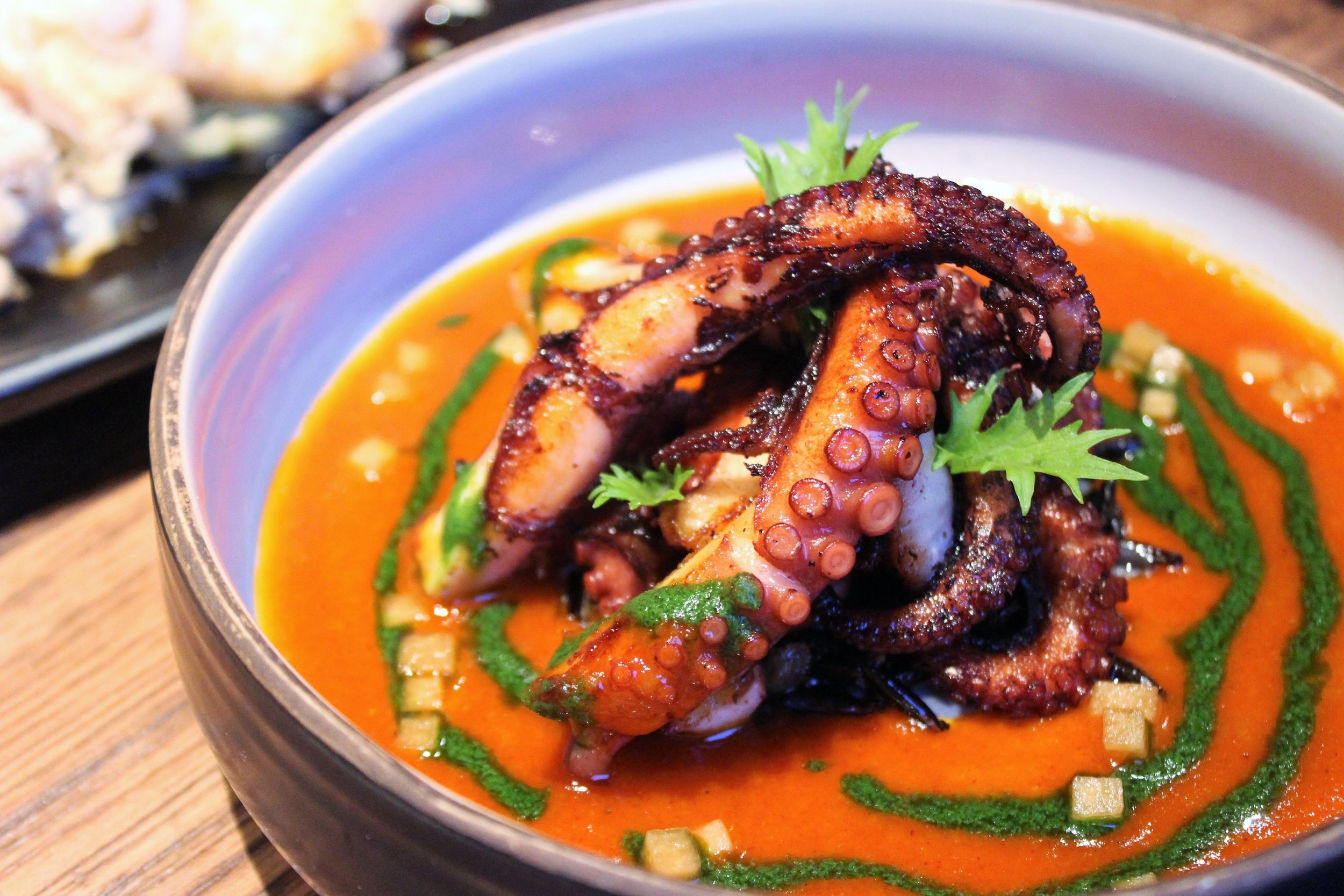 Slow Cooked Baby Octopus with Butter Gochujang at Oiji in New York City