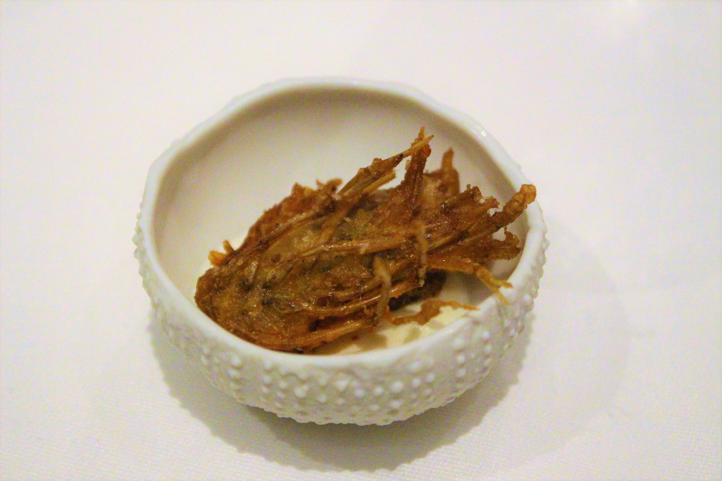 Fried Blue Shrimp Body at Gabriel Kreuther in New York City