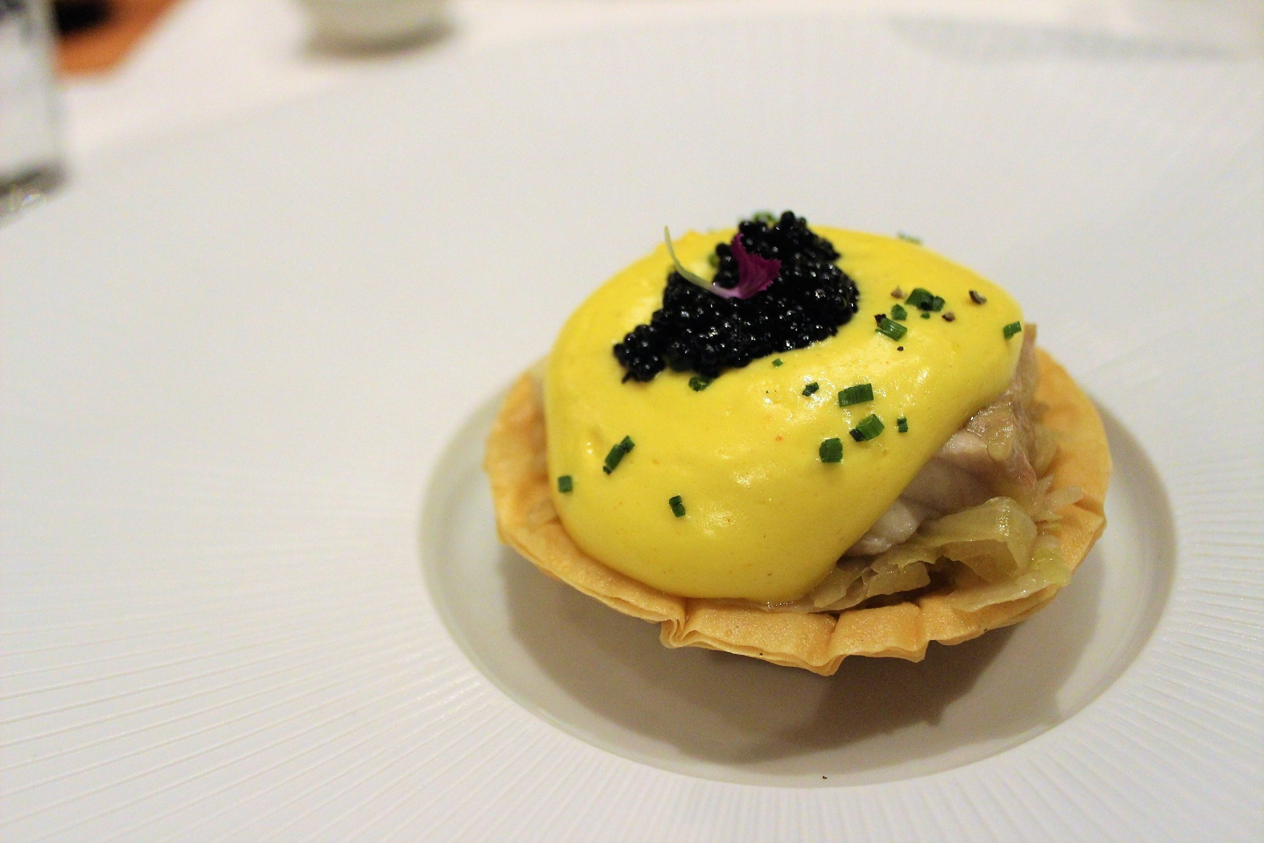 Sturgeon and Sauerkraut Tart at Gabriel Kreuther in New York City
