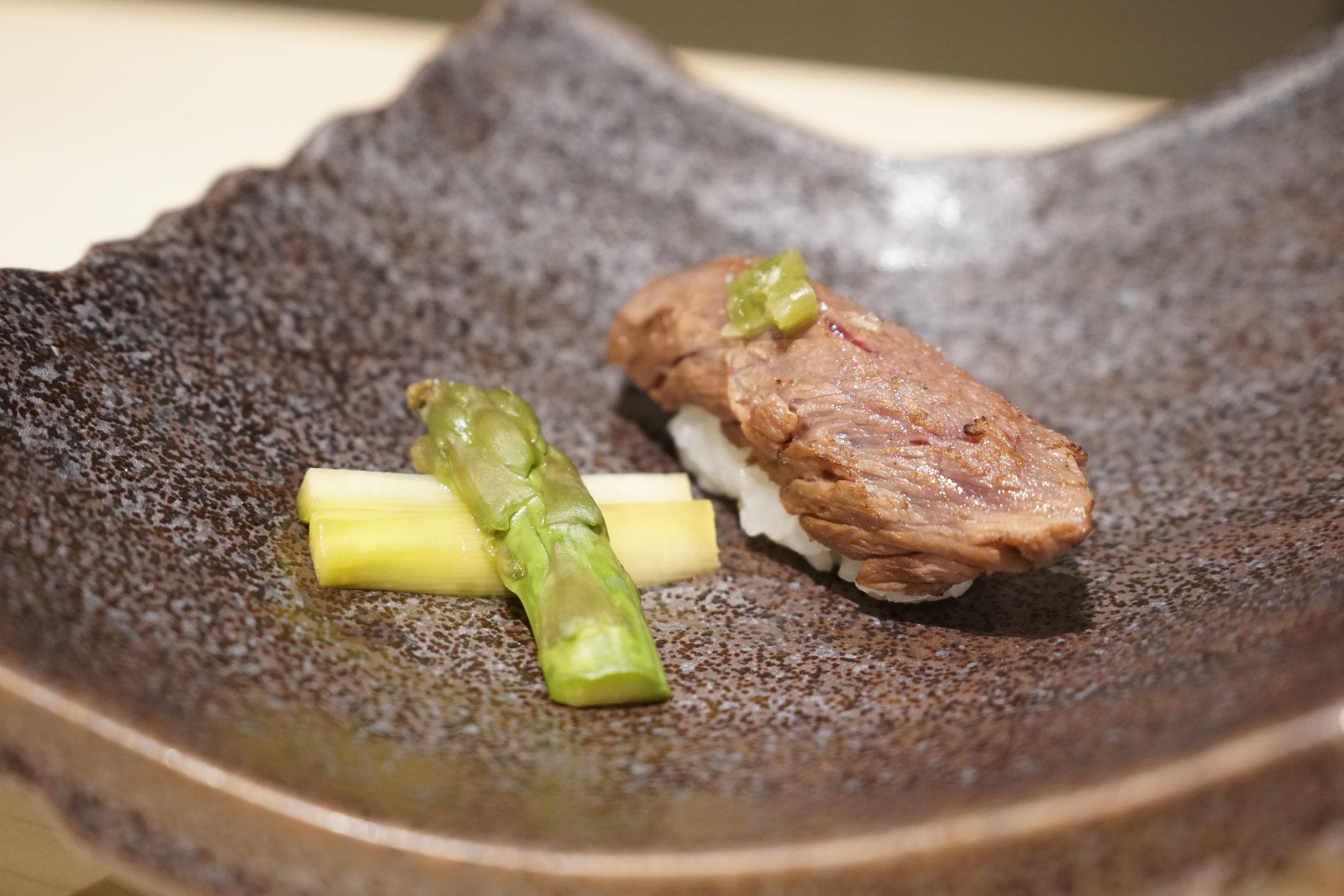 Washu Beef (Culotte) with Cipollini Onion at Shuraku in New York City
