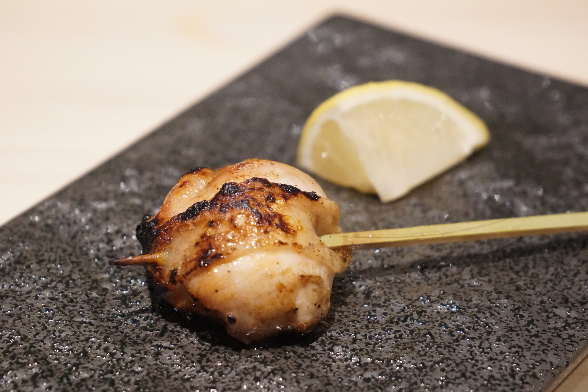 Chicken Oyster Yakitori with Lemon at Shuraku in New York City