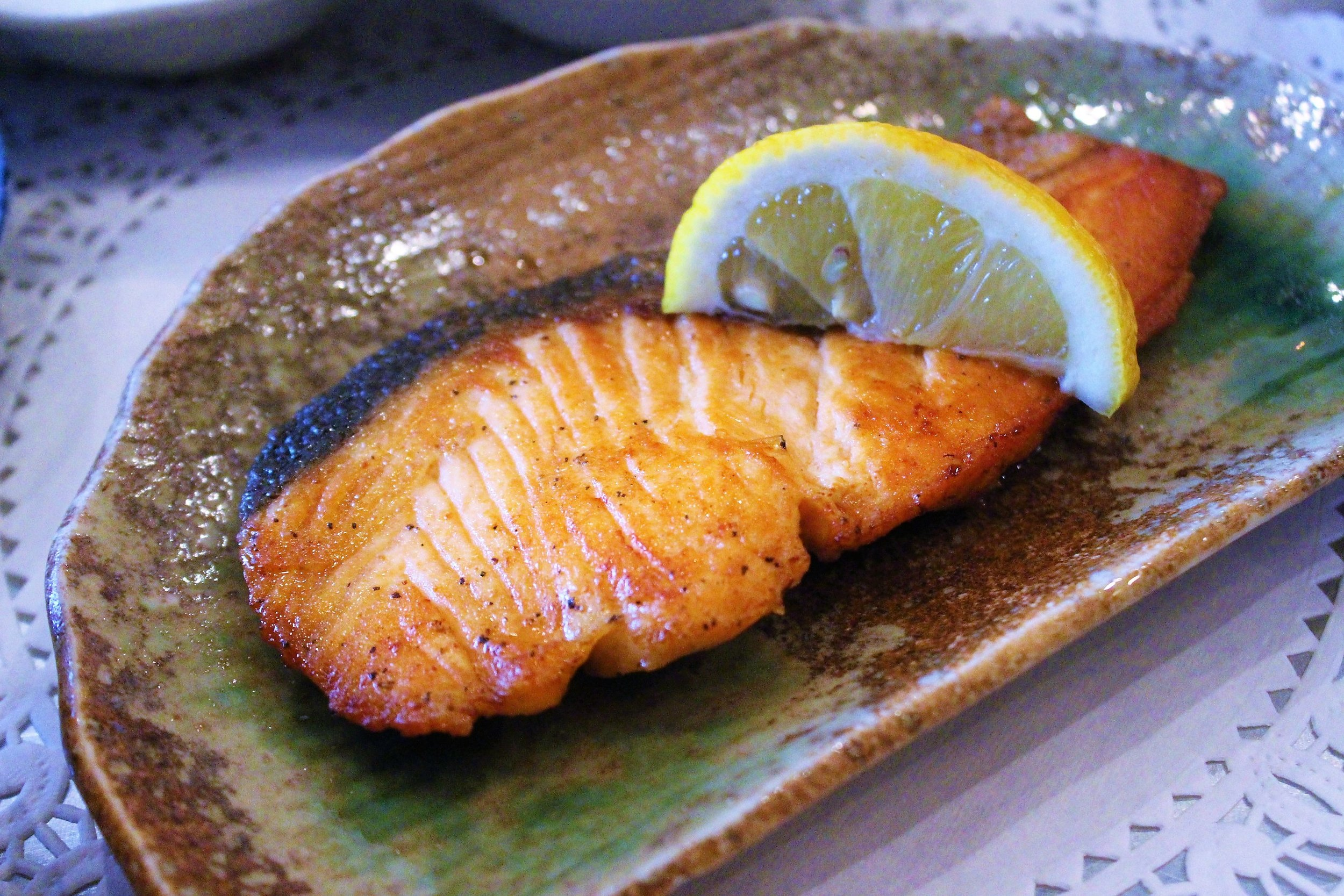 Grilled Salmon with Garlic Sauce at Her Name is Han in New York City