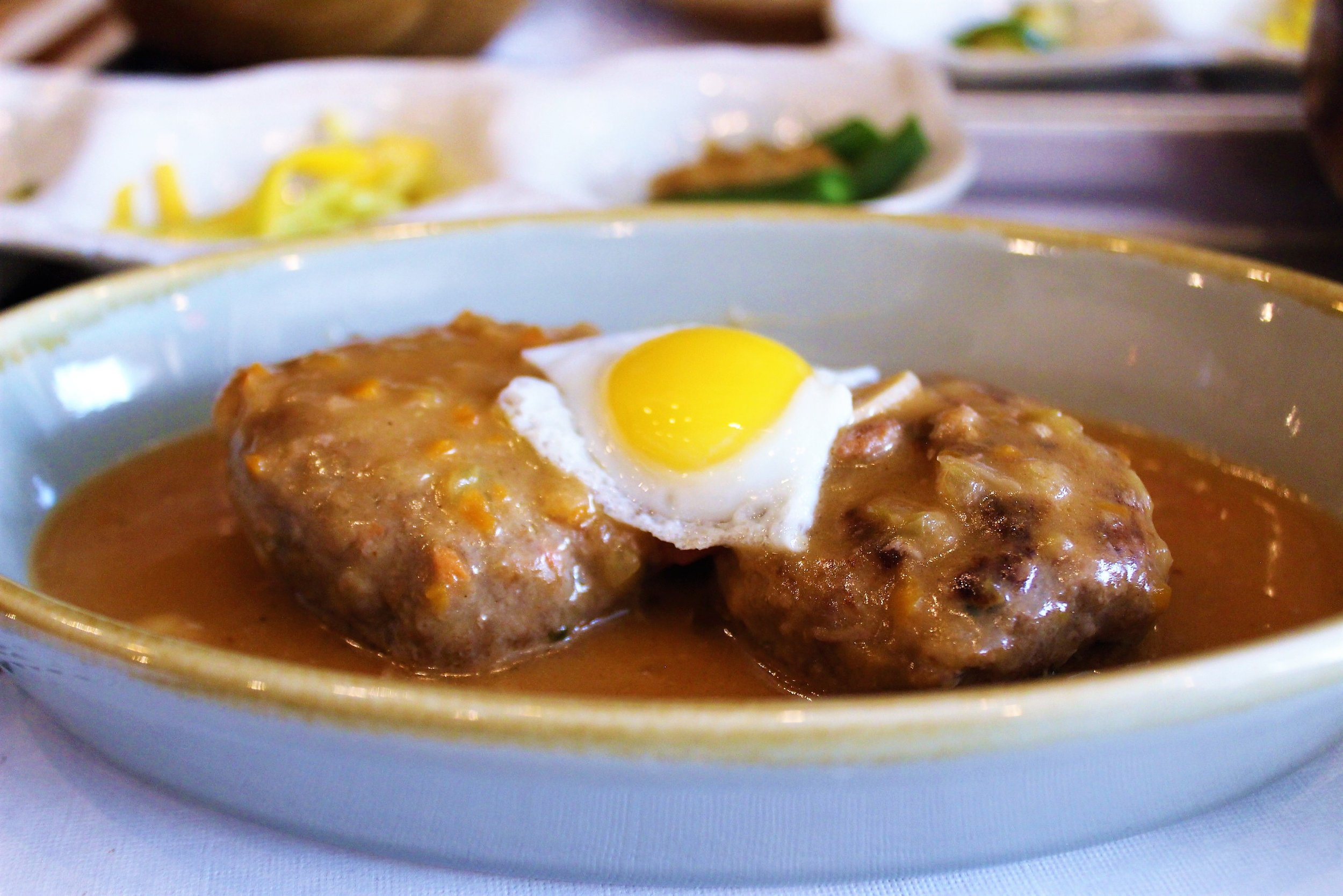 Hamburger Steak with Quail Egg at Her Name is Han in New York City