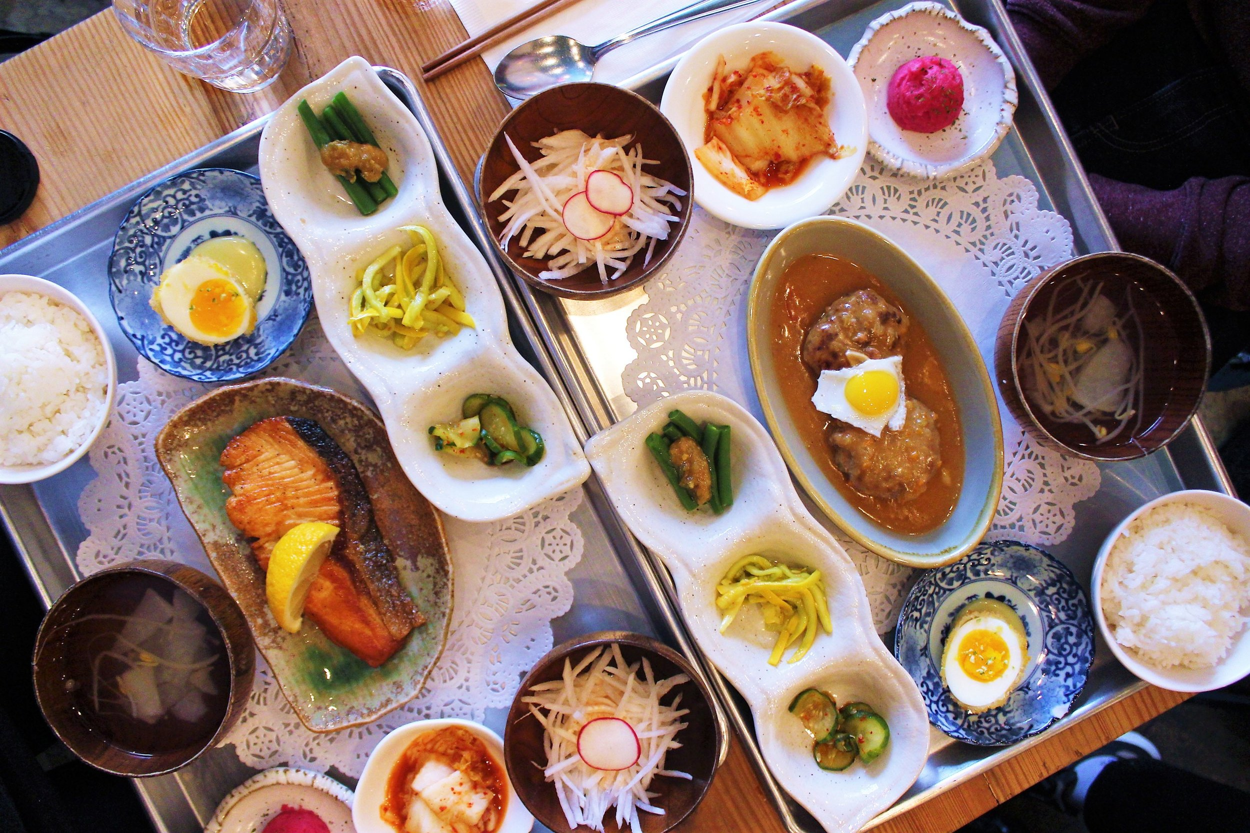 Brunch spread at Her Name is Han in New York City