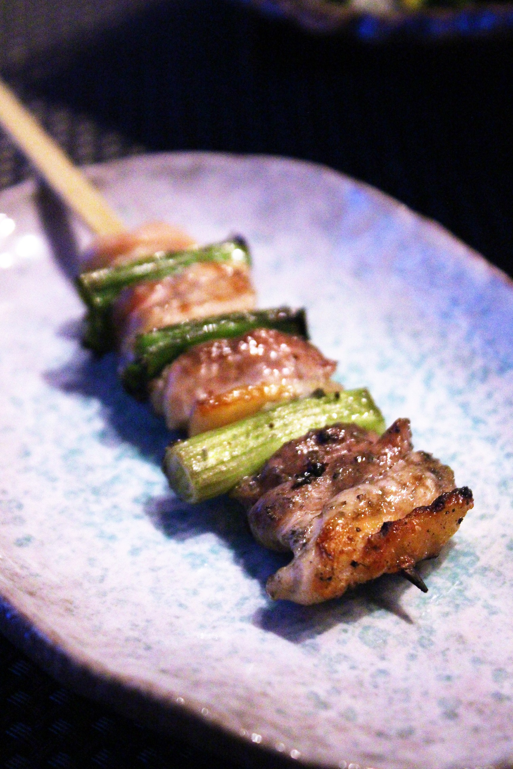 Chicken Thigh with Scallion Yakitori at TEISUI in New York City