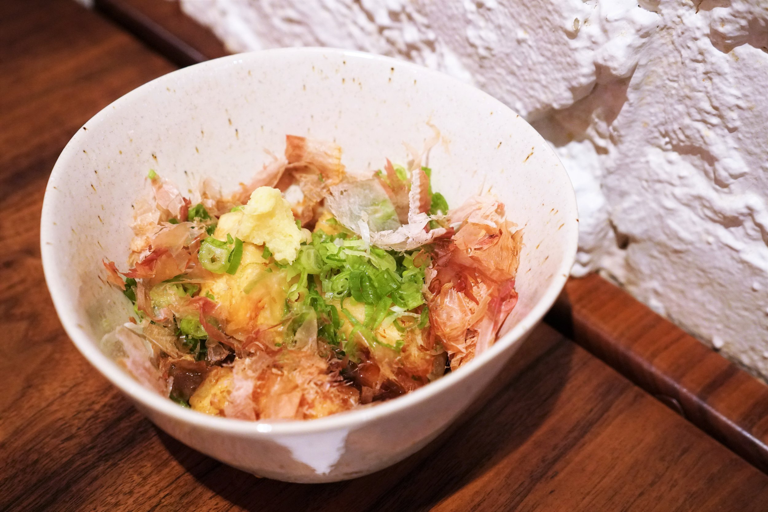 Agedashi Tofu with Shaved Bonito at Raku in New York City