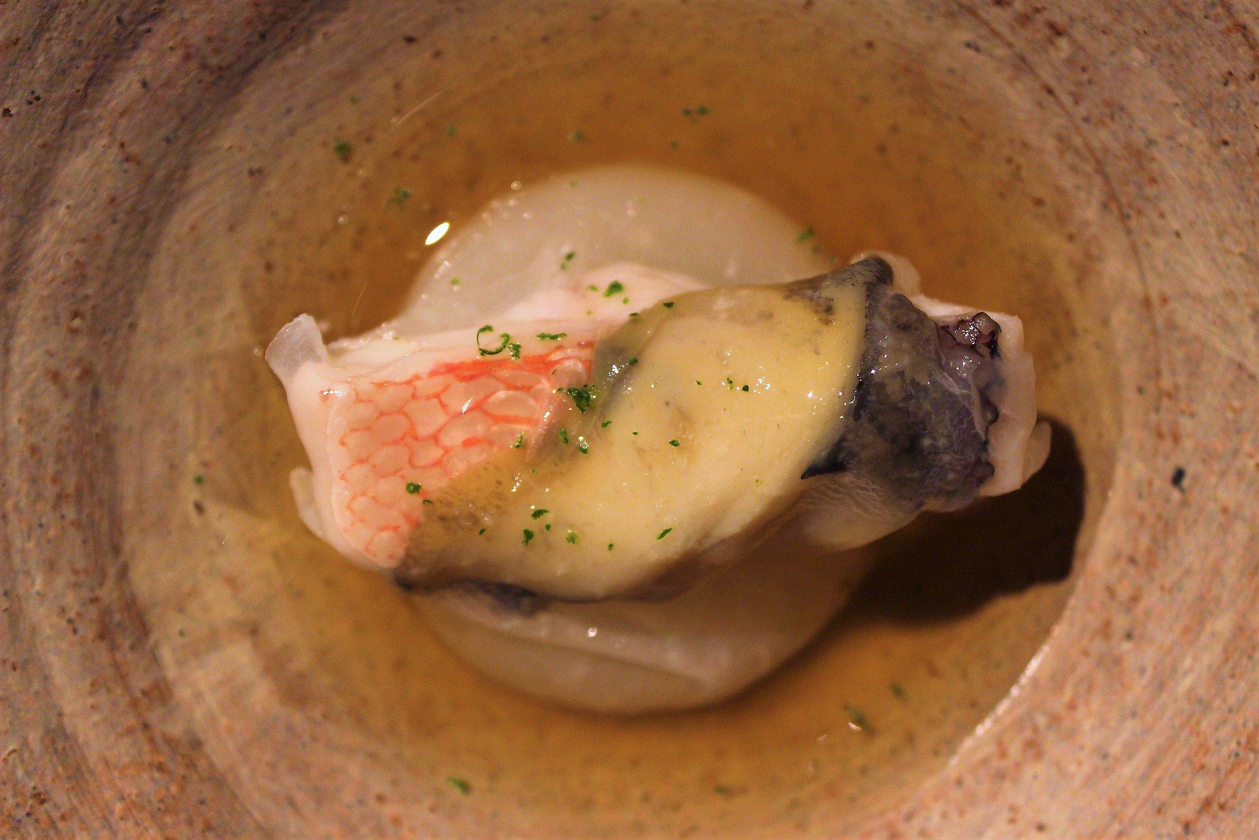 Tilefish and Shogoin Radish at Narisawa in Tokyo, Japan