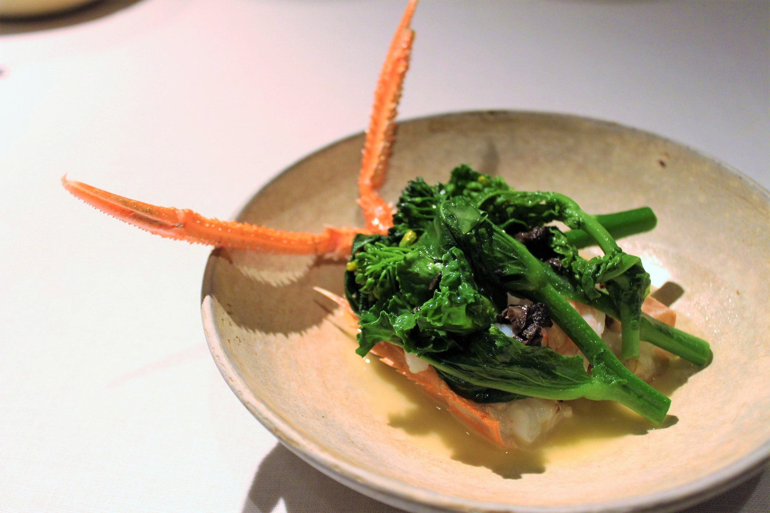Langoustine Shrimp at Narisawa in Tokyo, Japan