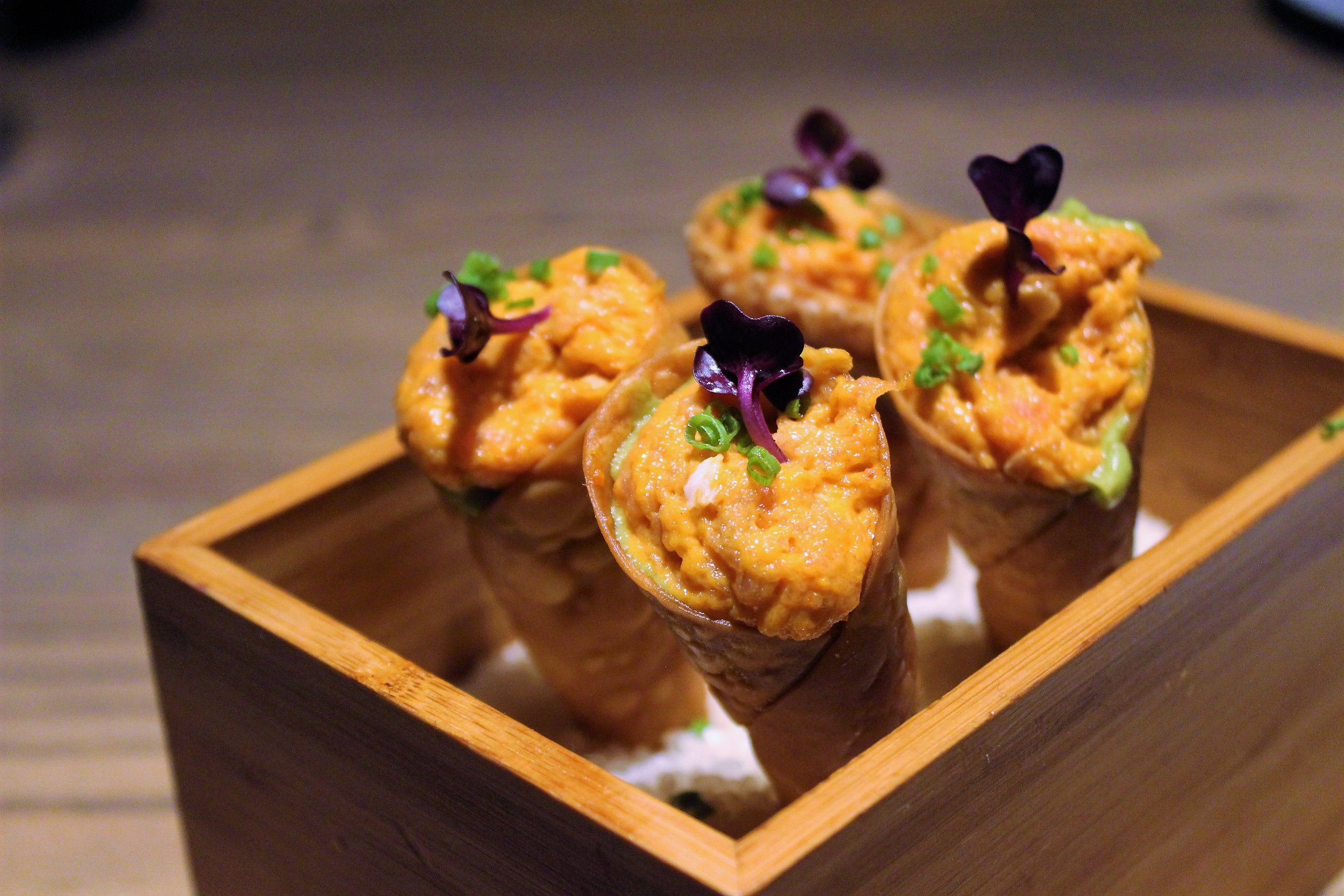 Spicy Tuna Tartare Cone with Avocado Purée, Micro Shiso, Wonton Skin