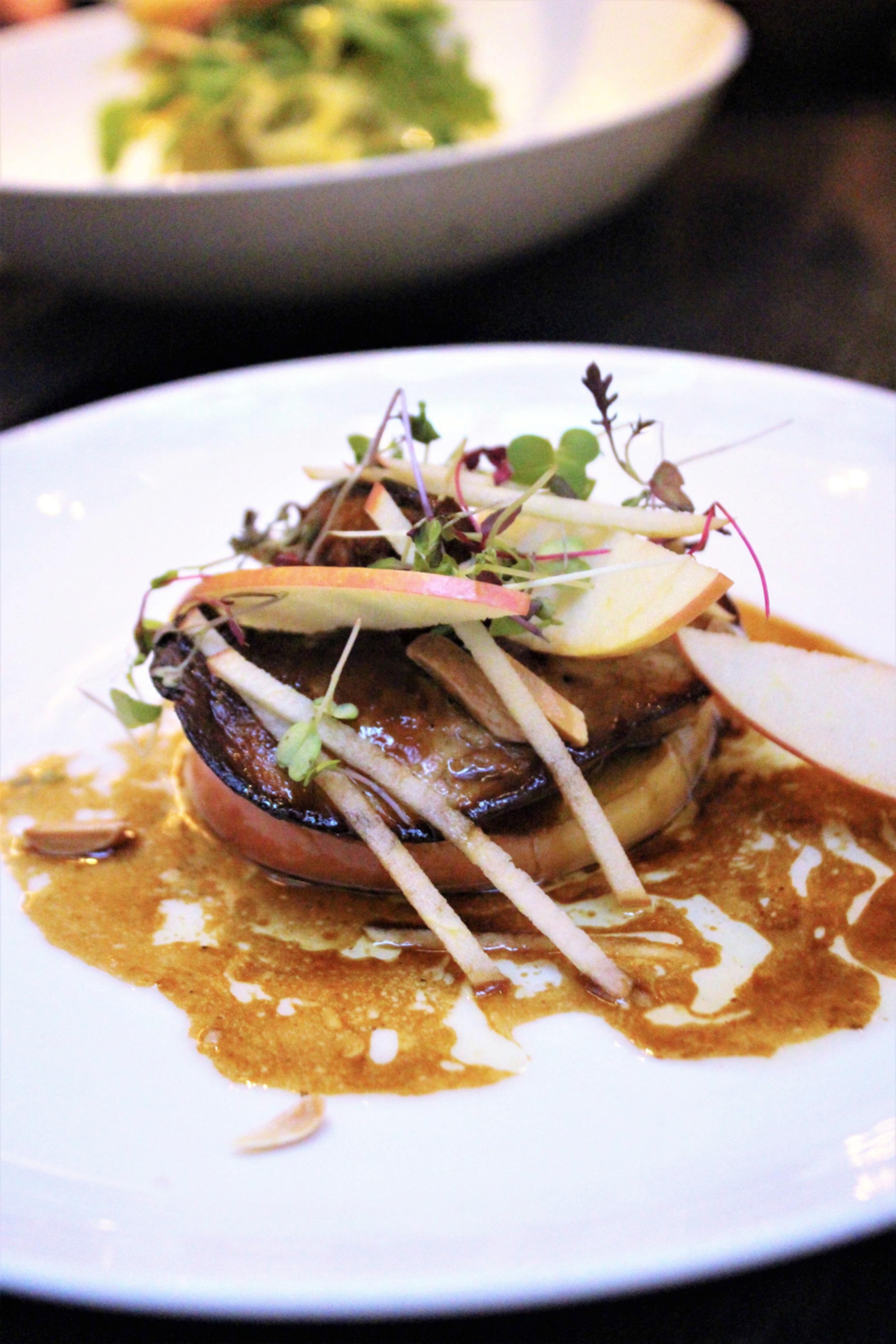 Seared Duck Foie, Honey Crisp Apple, Cherry Vinegar Reduction, Almonds