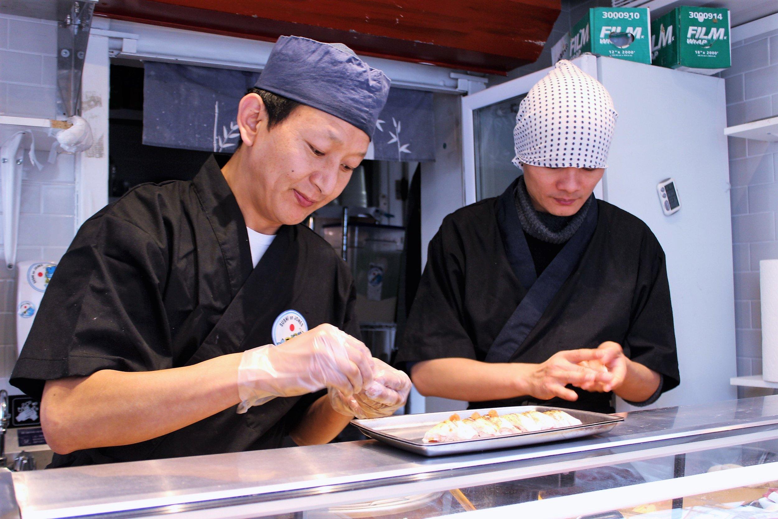 Preparing the sushi!