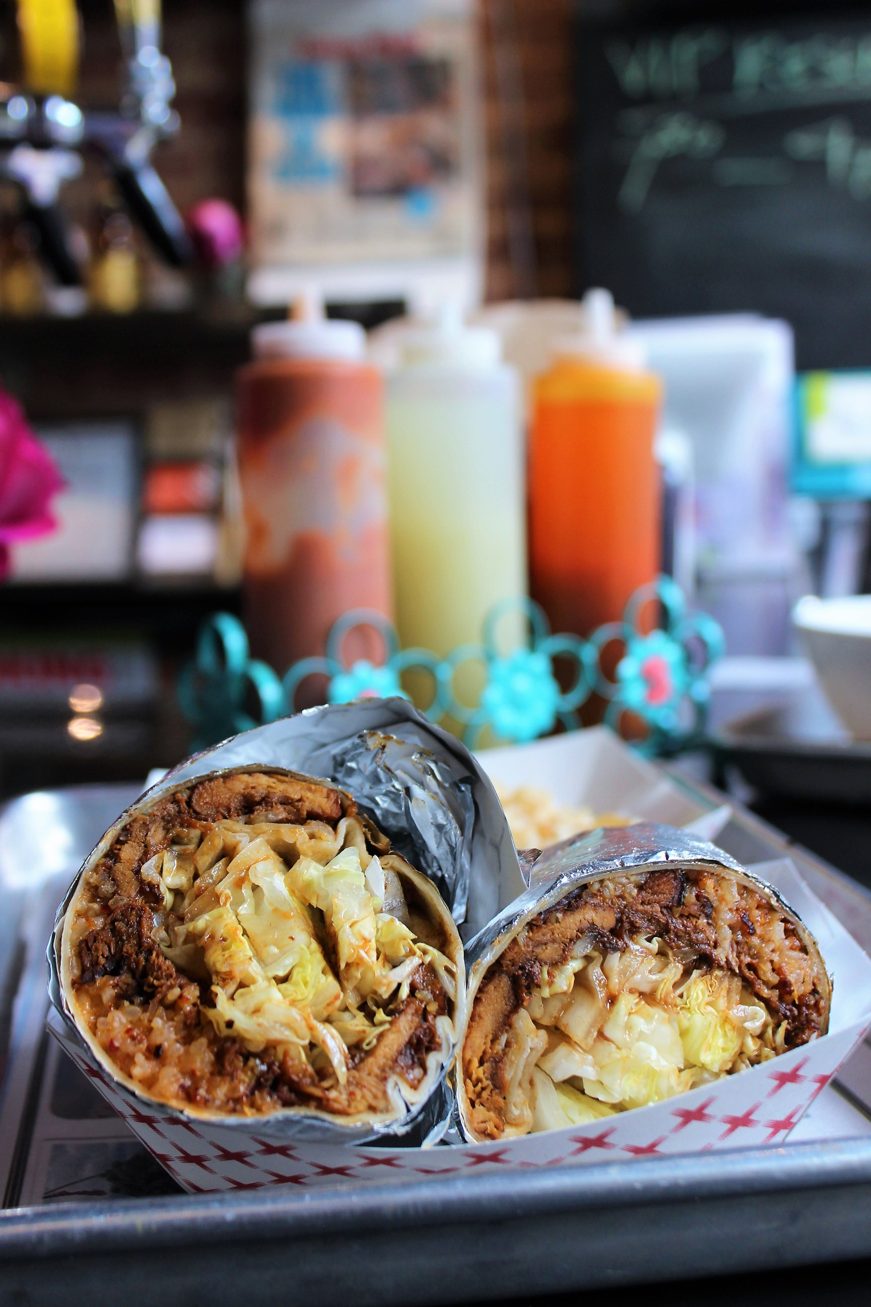 Adobo-Rito (Soy-Braised Chicken Burrito with Kimchi Fried Rice and Shredded Romaine)