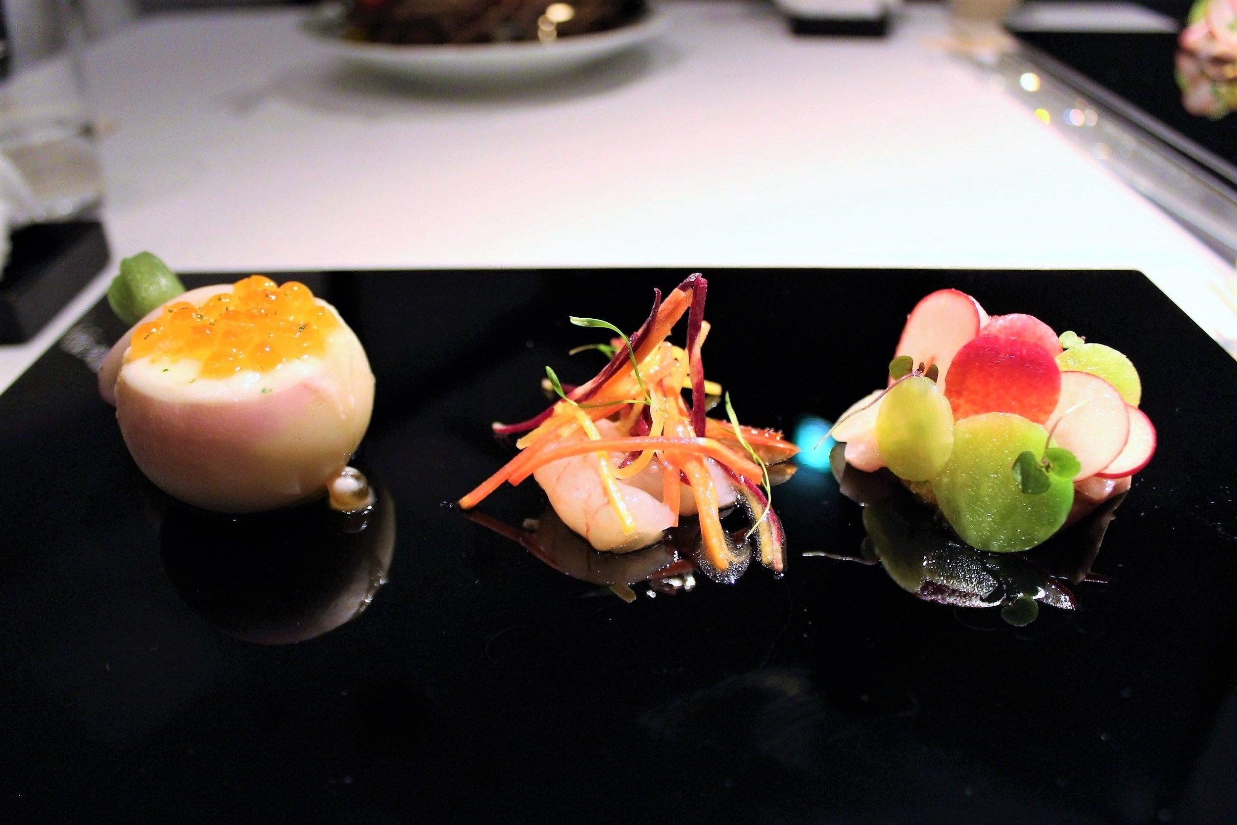 Salmon Roe & Hairy Crab in Turnip, Botan Shrimp, & Yellow Tail, Wasabi.JPG