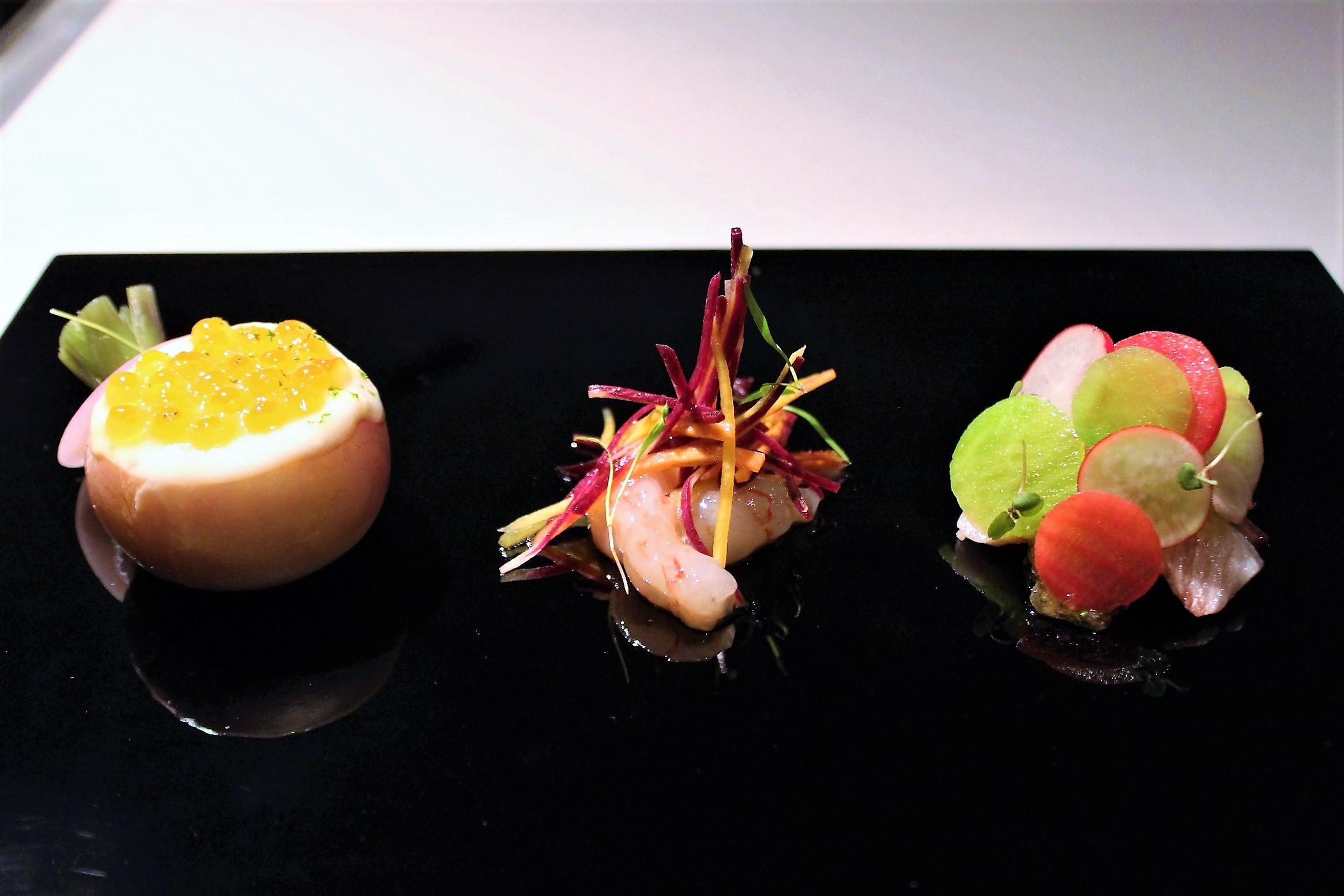 Yellow Tail, Wasabi, Botan Shrimp, Salmon Roe, Hairy Crab at Narisawa in Tokyo, Japan