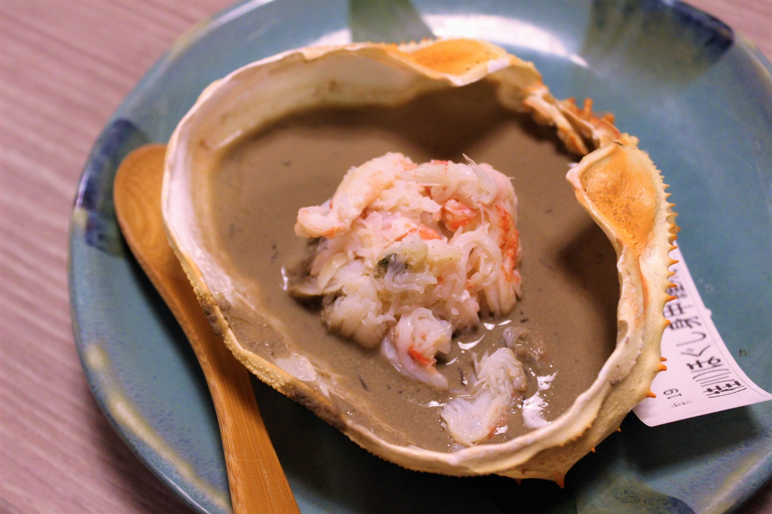 Grilled Crab Flakes & Paste on the Shell at Kani Doraku Dotonbori Honten