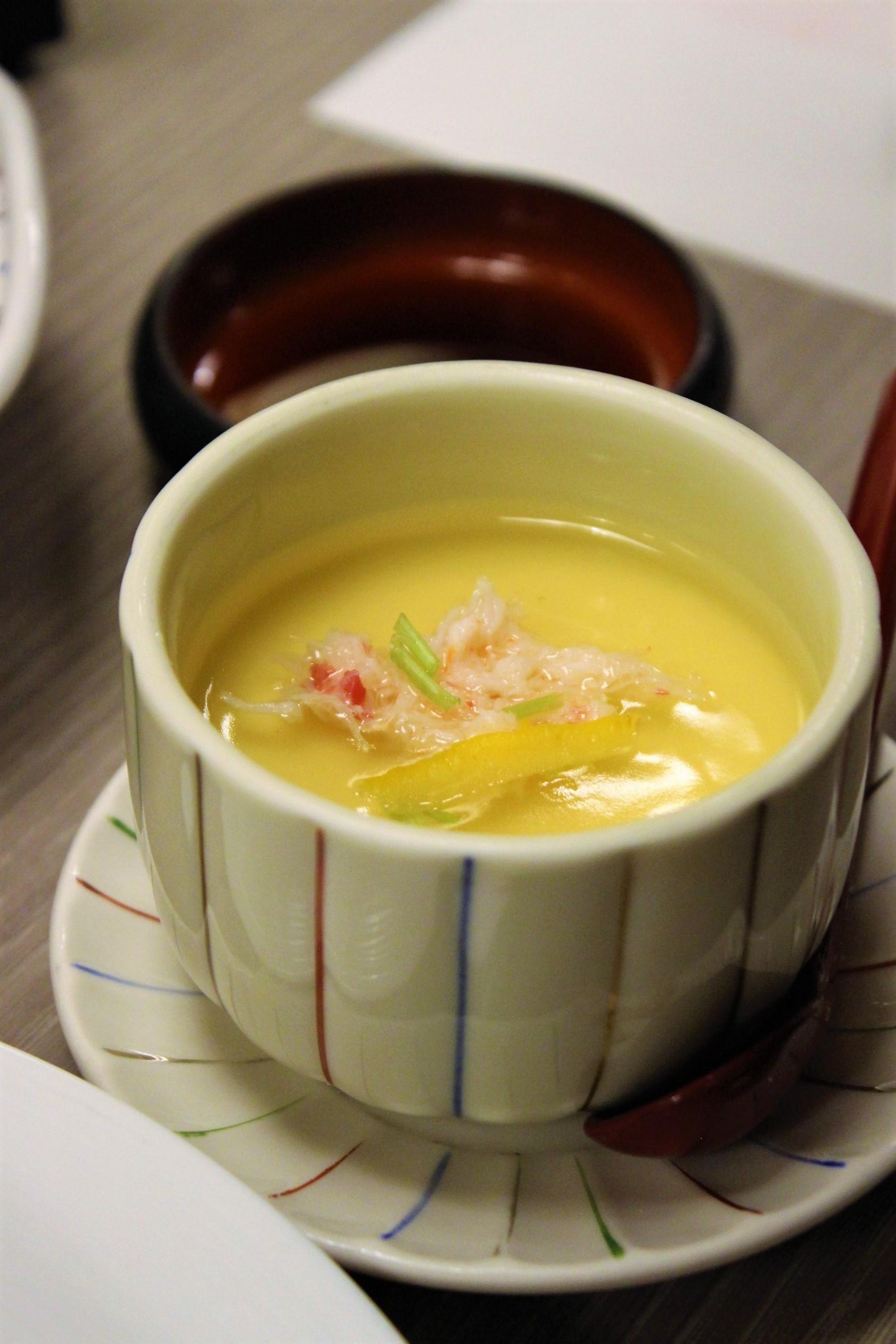 Steamed Egg Custard with Crab at Kani Doraku Dotonbori Honten