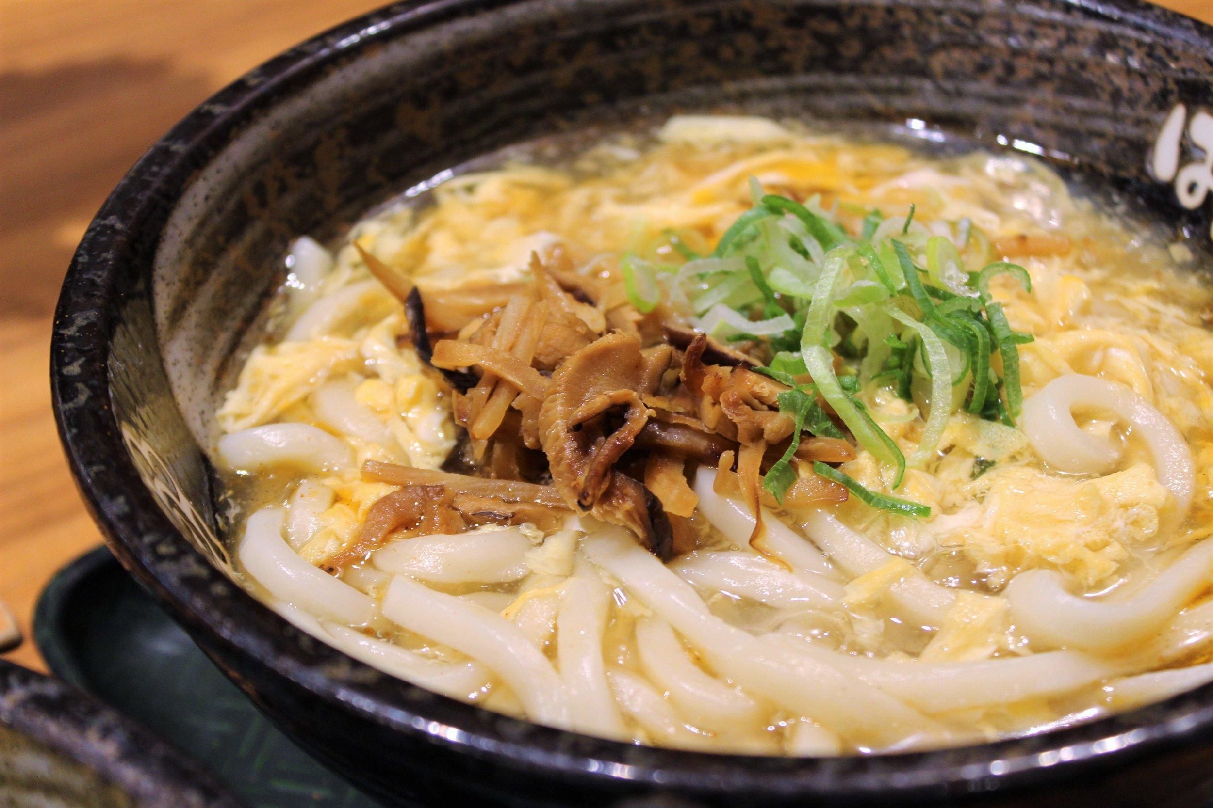 Hot and Sour Soup Vegetable Udon at Sanuki Udon Hanamaru in Shibuya, Japan