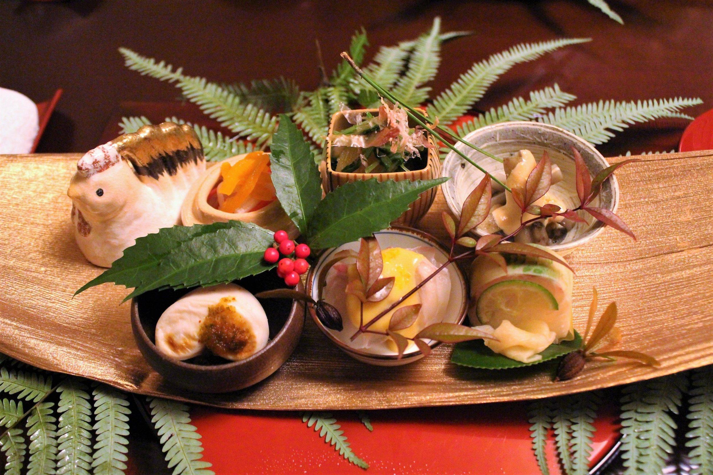 Variety of Small Japanese Dishes at Ginza Kojyu in Tokyo, Japan