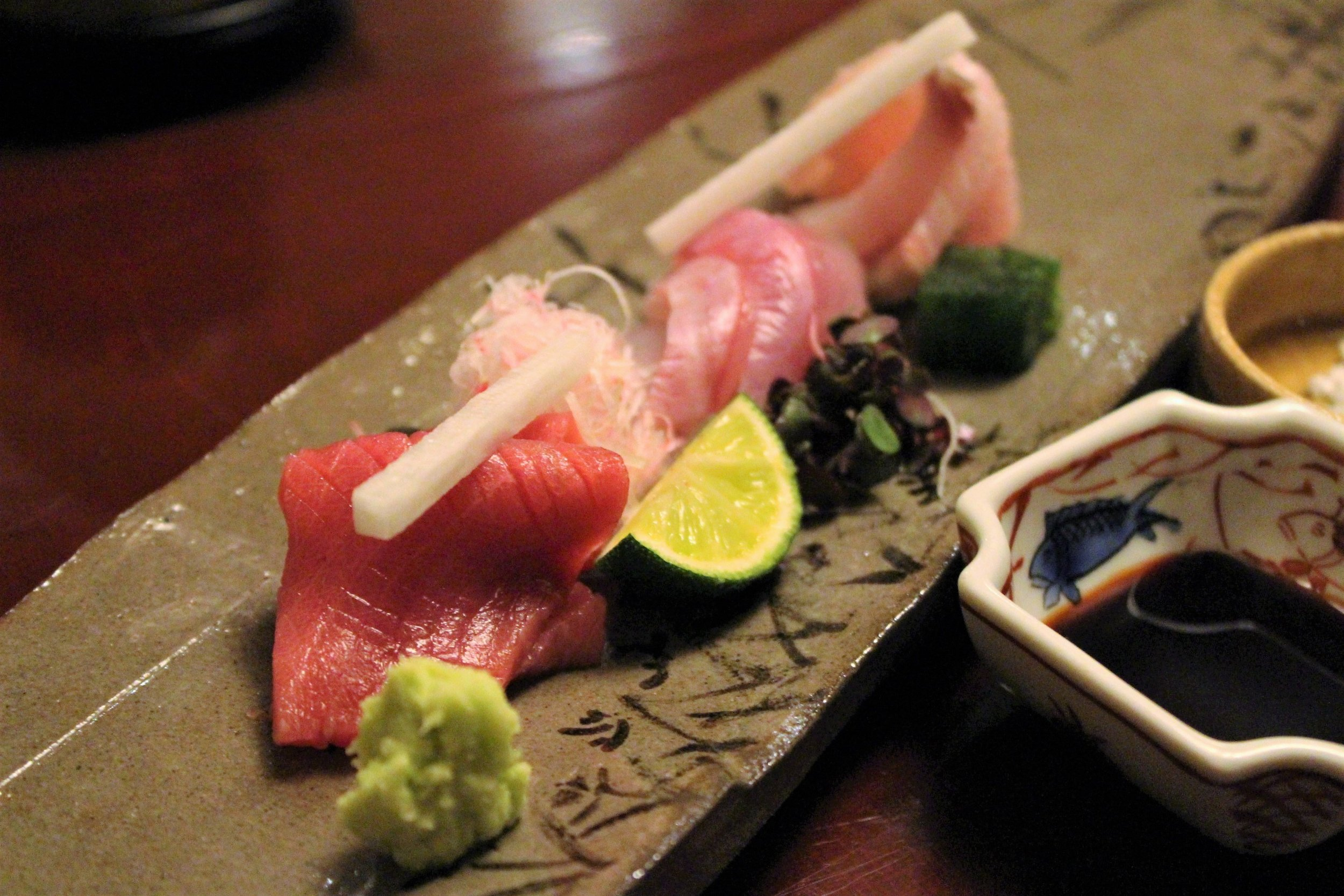 Maguro, Kanpachi, and Kue Sashimi at Ginza Kojyu in Tokyo, Japan