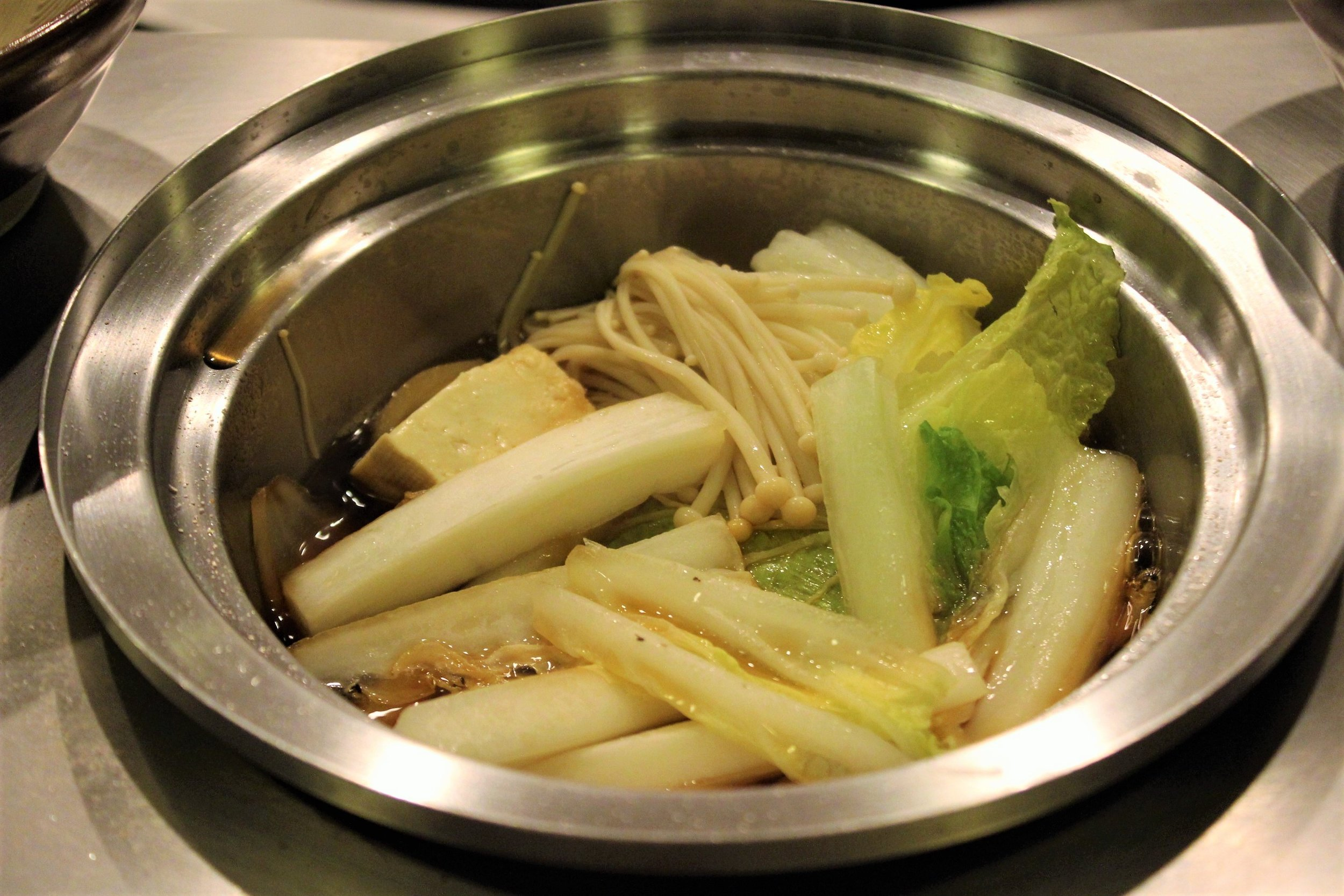 Assorted Vegetables (Kuroge Wagyu Beef Sukiyaki Set) at Shabusen in Tokyo, Japan