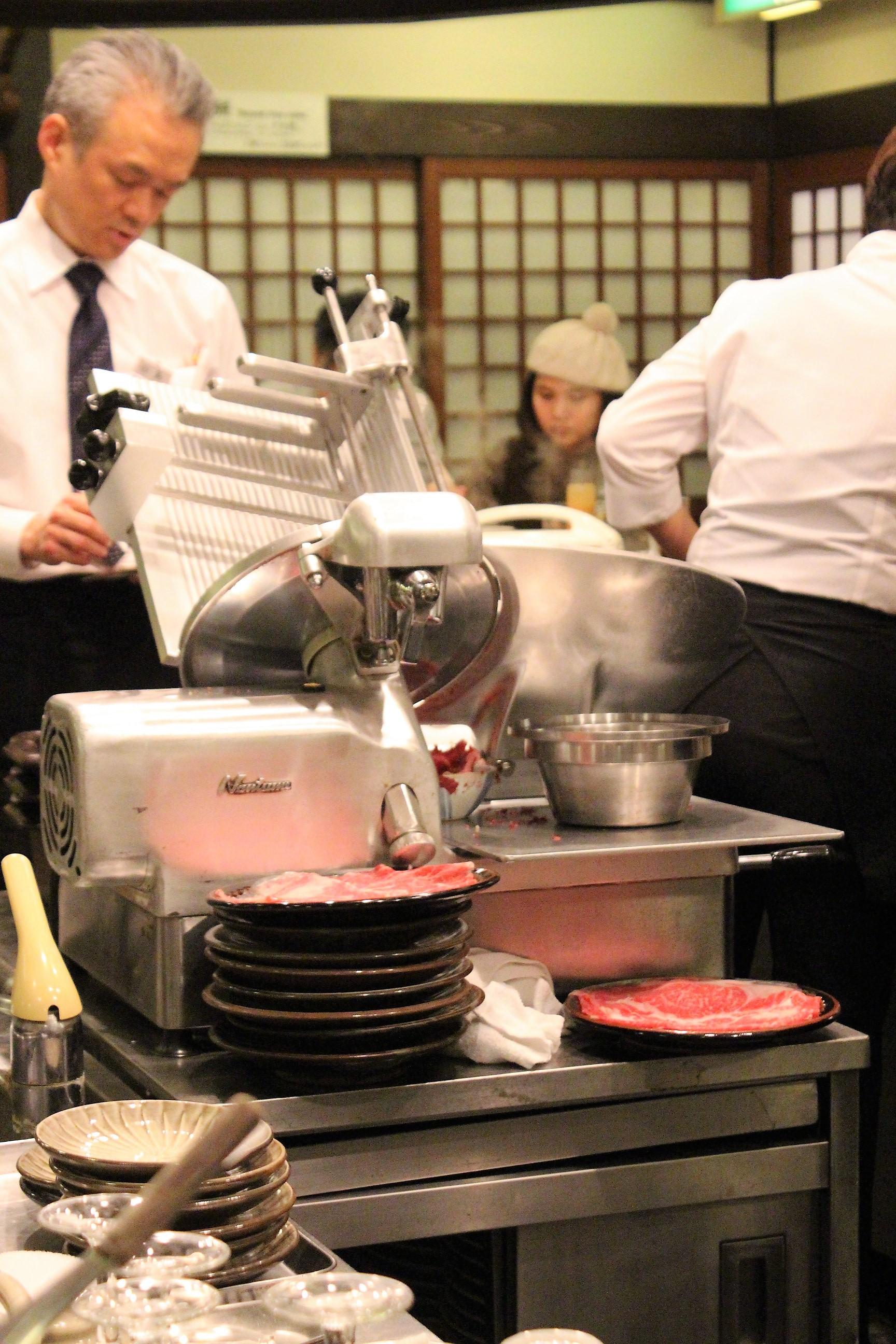 Meat Cutter at Shabusen in Tokyo, Japan