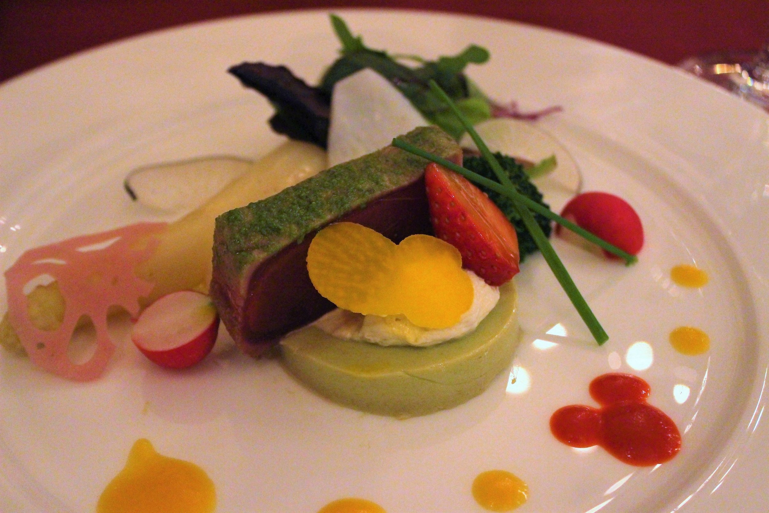 Marinated Tuna with Avocado Mousse and Assorted Vegetables at Magellan's in DisneySea, Tokyo, Japan