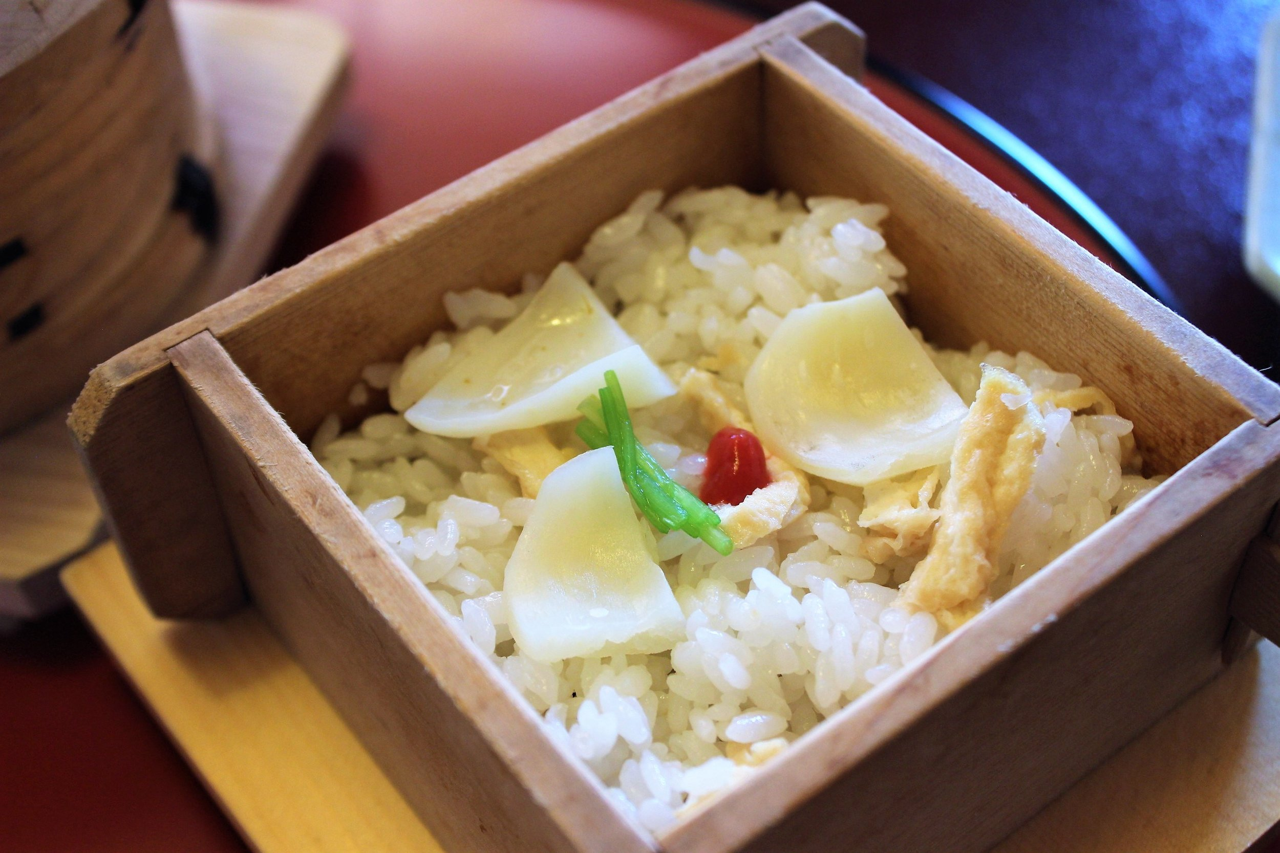 Yurine Gohan Rice Cooked with Lily Bulbs at Tokyo Shiba Tofuya Ukai in Tokyo, Japan
