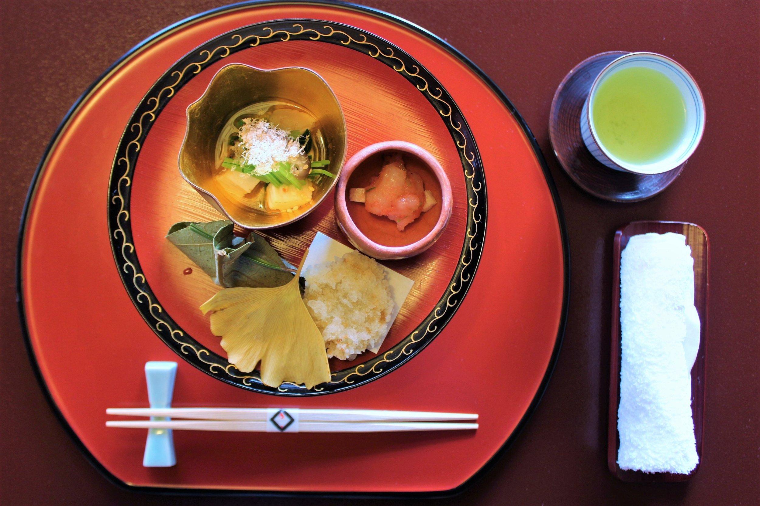 Shrimp Served with Cod Roe at Tokyo Shiba Tofuya Ukai in Tokyo, Japan