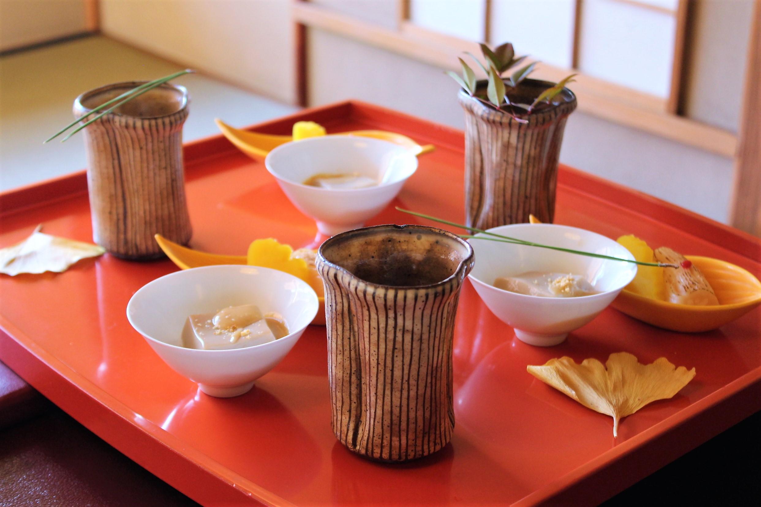 Peanut Tofu, Mushroom and Vegetables, Scallop Sushi at Tokyo Shiba Tofuya Ukai in Tokyo, Japan