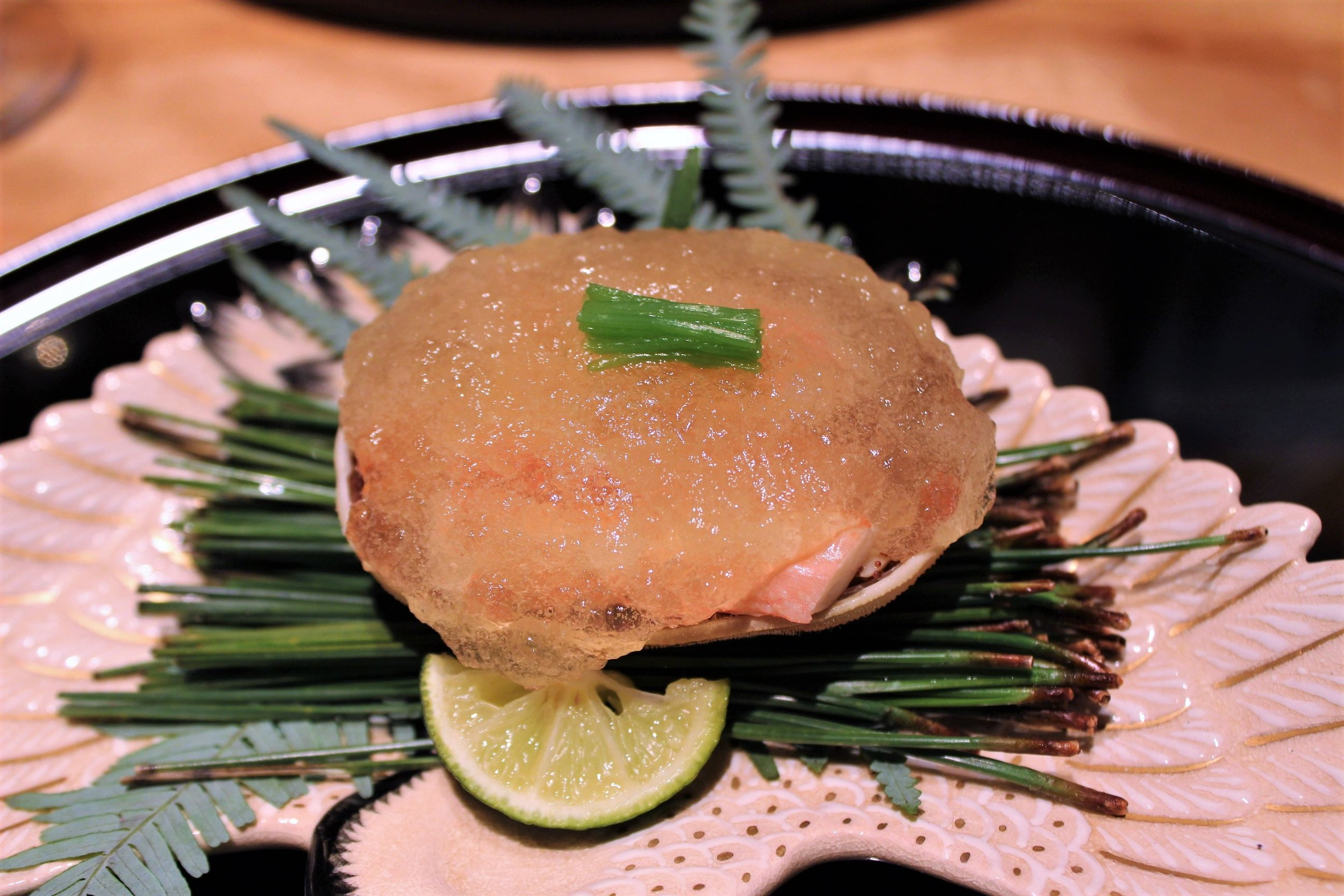 Green Crab with Vinegar Jelly and Sudashi Citrus at Kien in Tokyo, Japan
