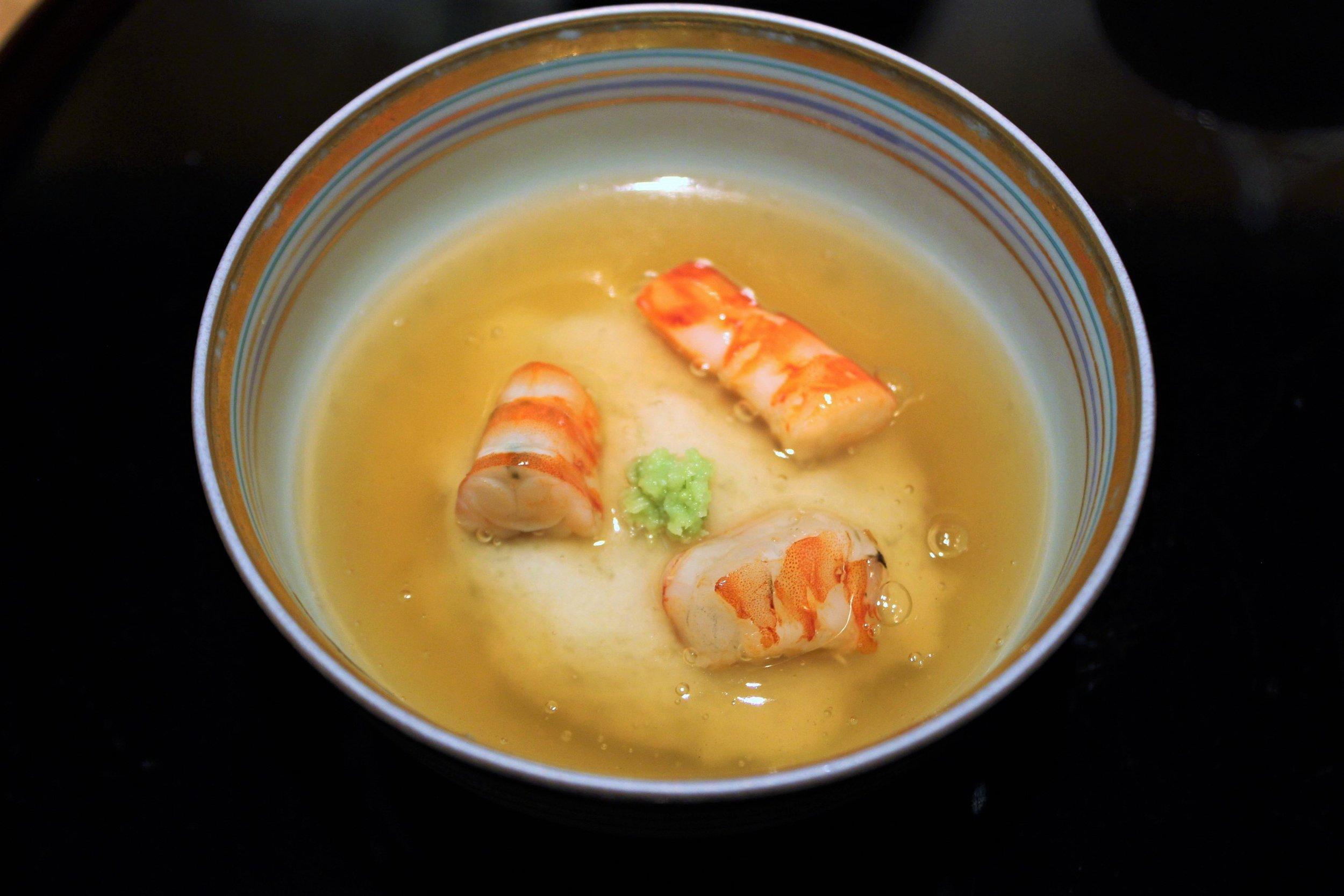 Shrimp, Turnip, Wasabi, and Gingko in Warm Dashi Jelly at Kien in Tokyo, Japan