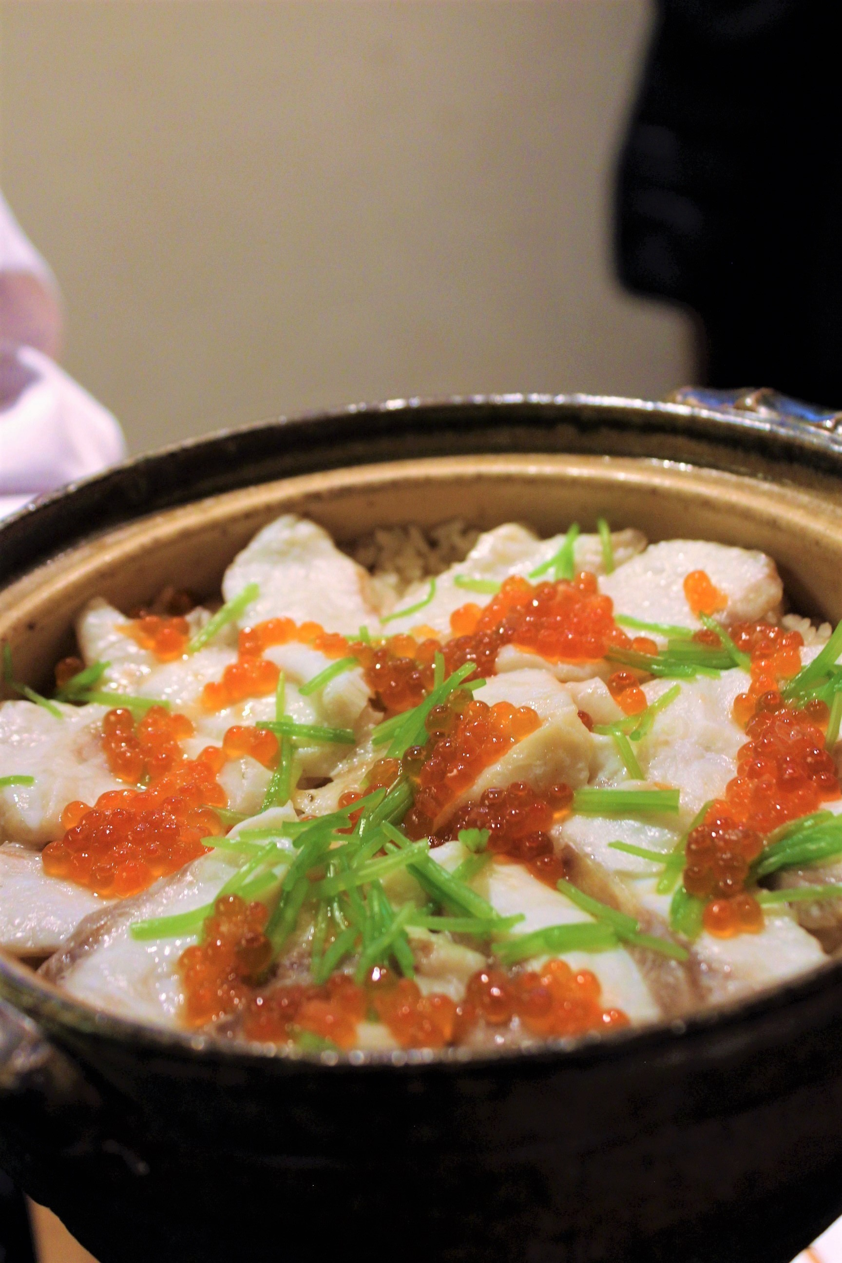 Red Snapper with Salmon Roe over Rice at Kien in Tokyo, Japan