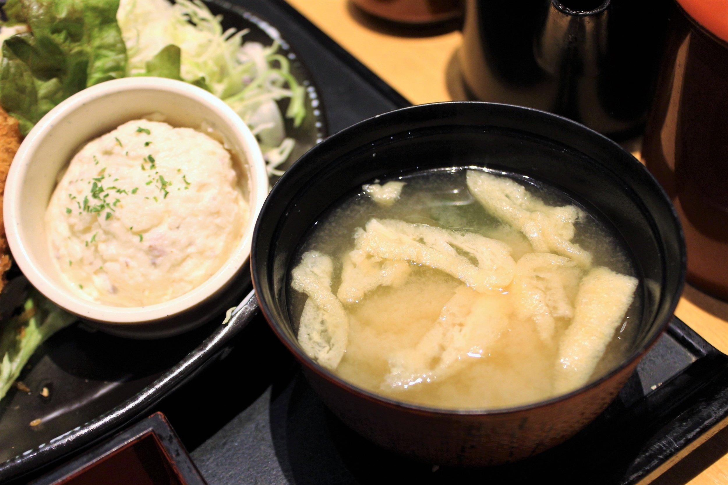 Miso Soup at Ganko Tonkatsu Namba in Osaka, Japan