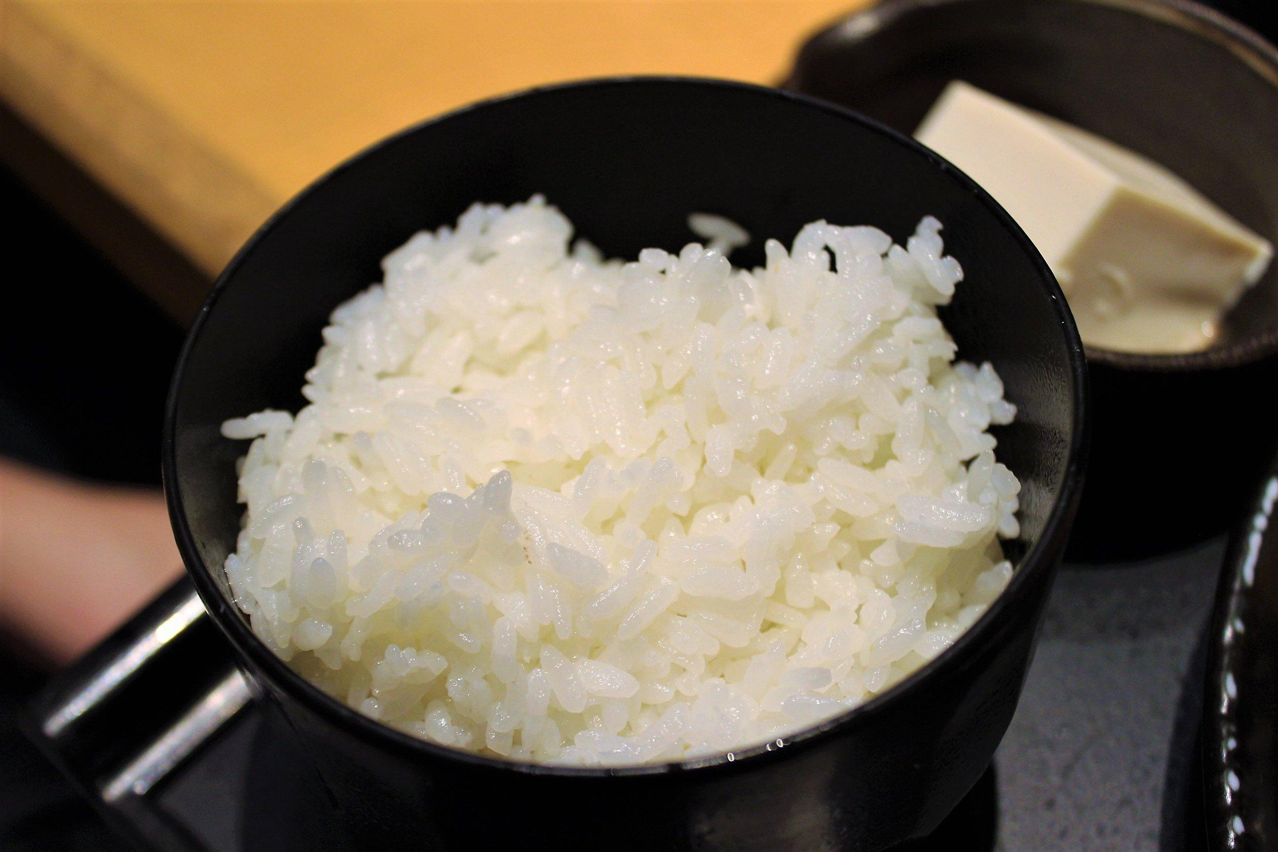 Rice at Ganko Tonkatsu Namba in Osaka, Japan