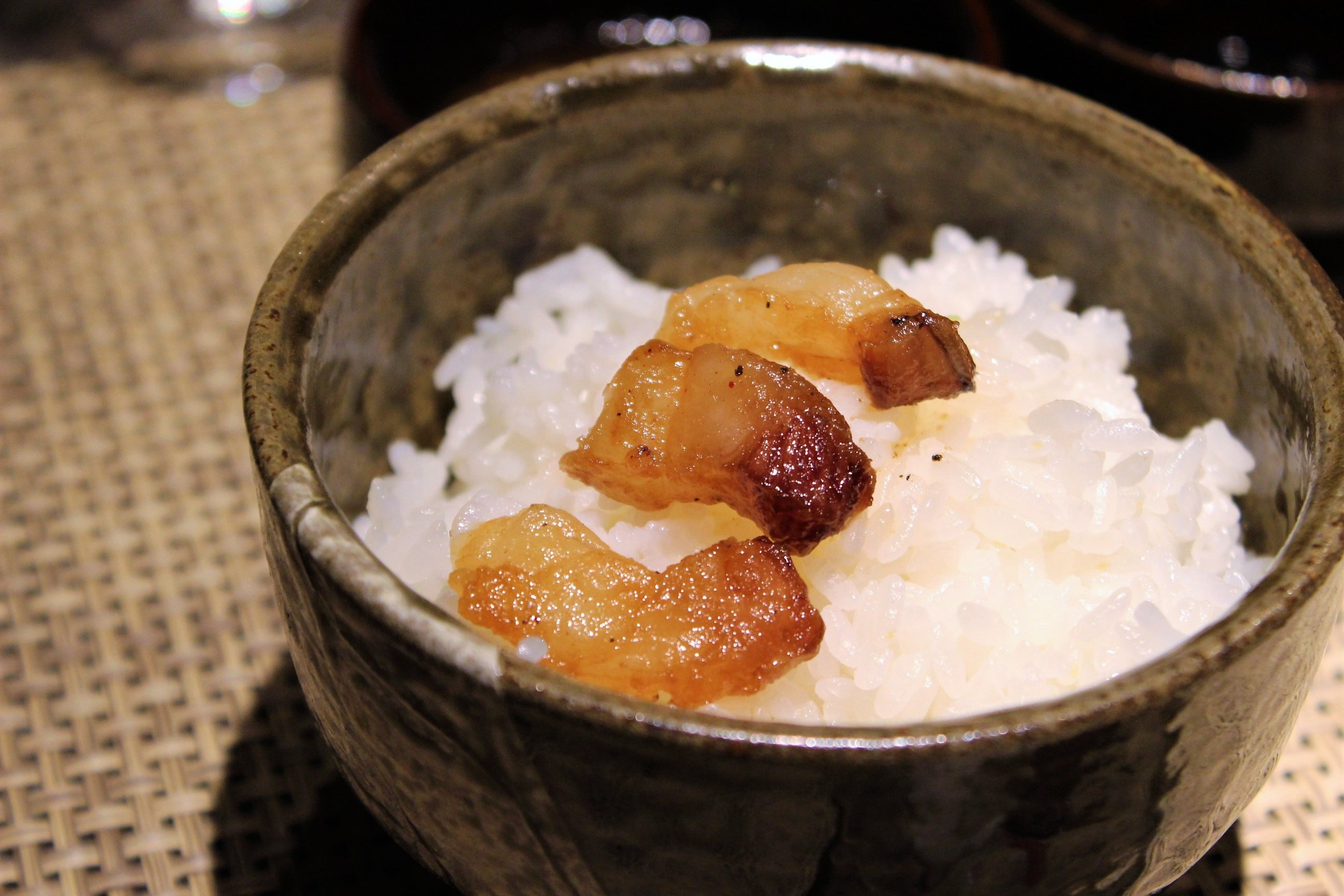 Crispy Beef Fat over Rice at Mouriya-Lin in Kobe, Japan