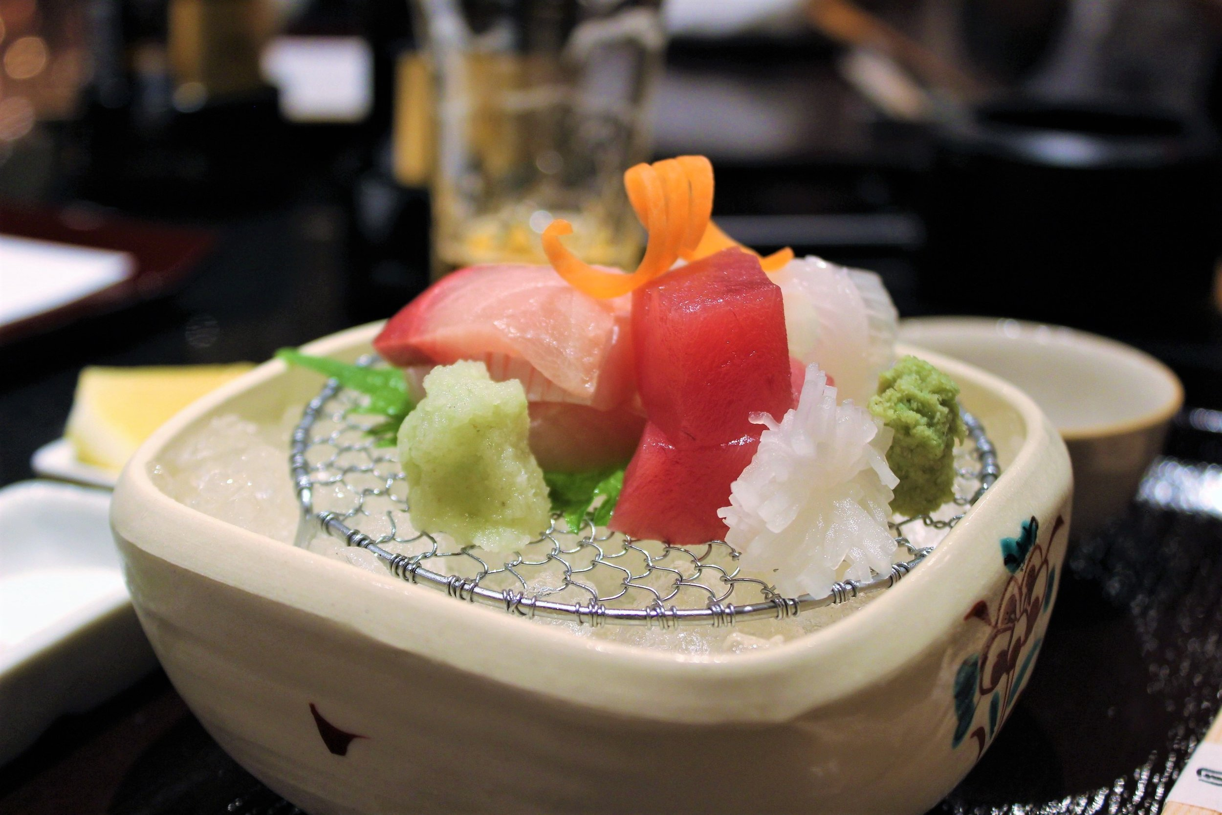 Assorted Sashimi (Hamachi, Akami, Ika) at Tempura Endo Yasaka