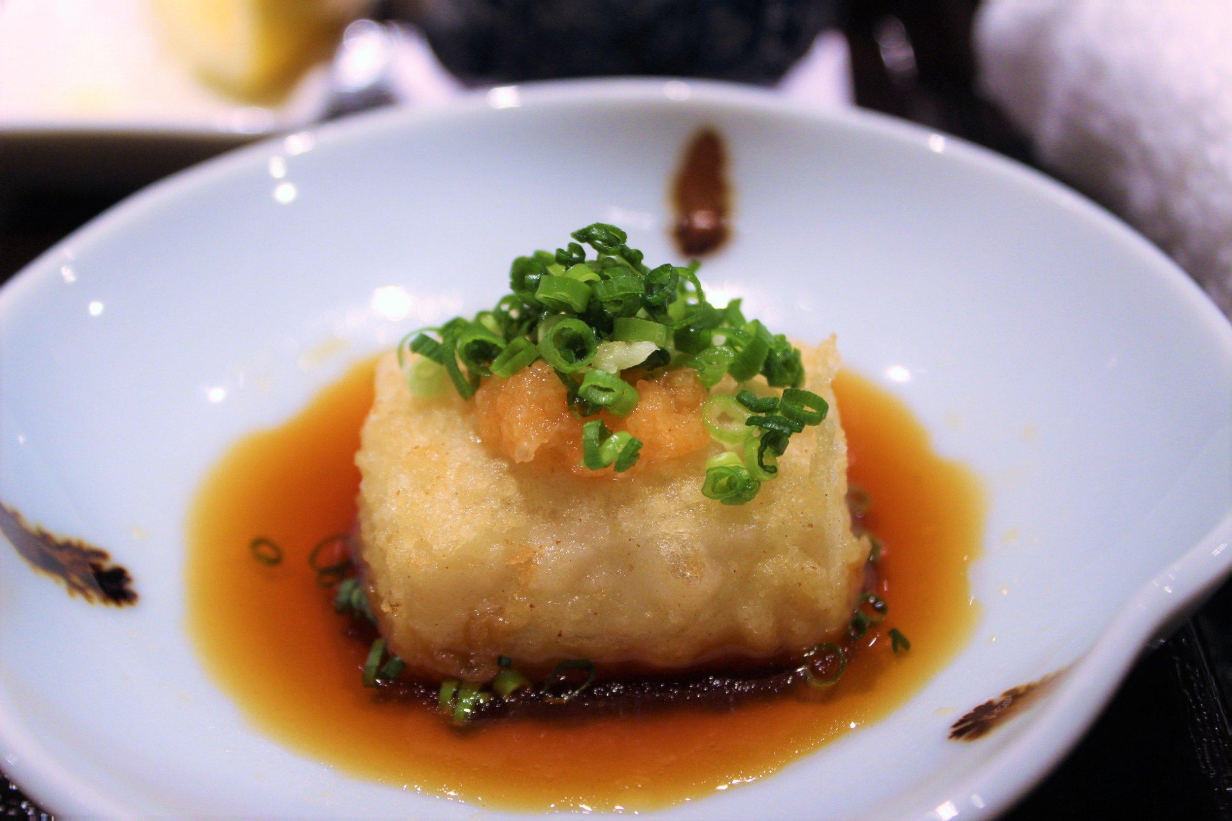 Sesame Tofu in Ponzu at Tempura Endo Yasaka