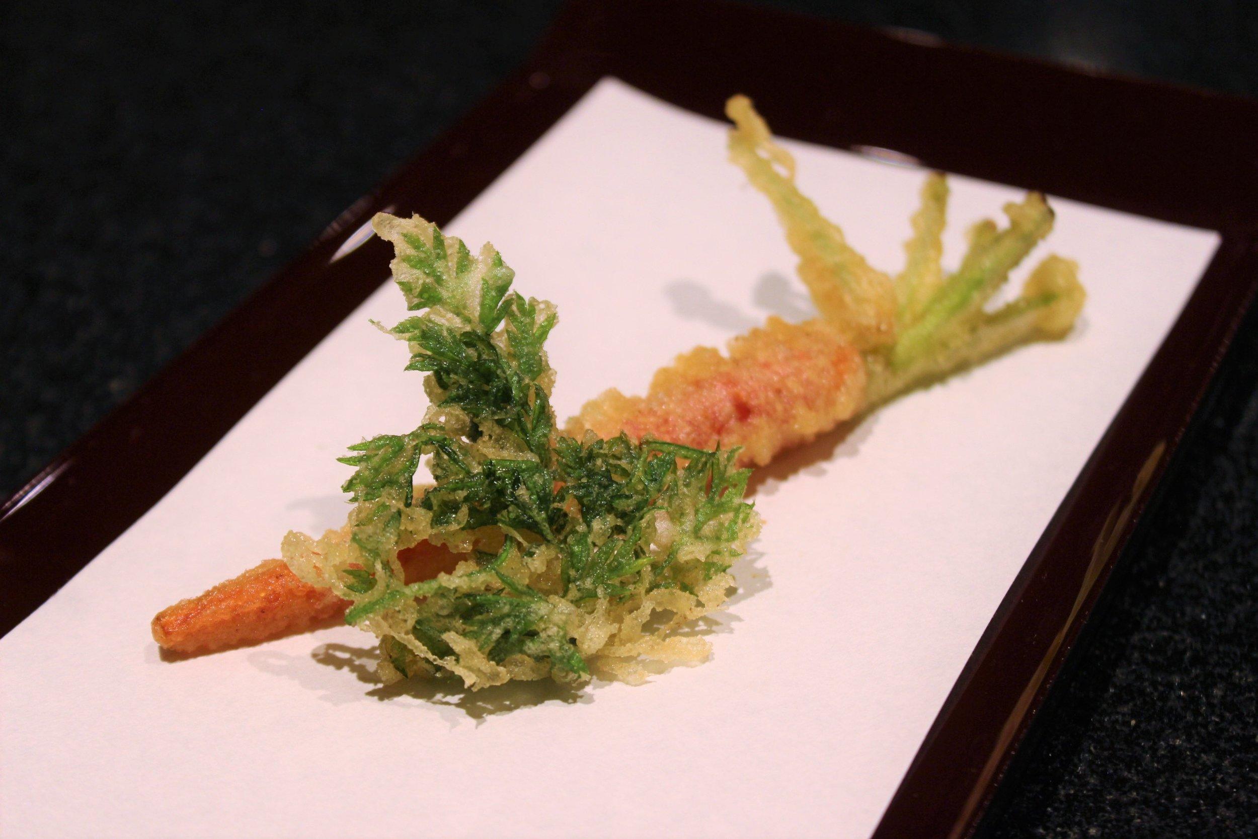 Kyo-Kanzashi Sweet Carrot Tempura at Tempura Endo Yasaka