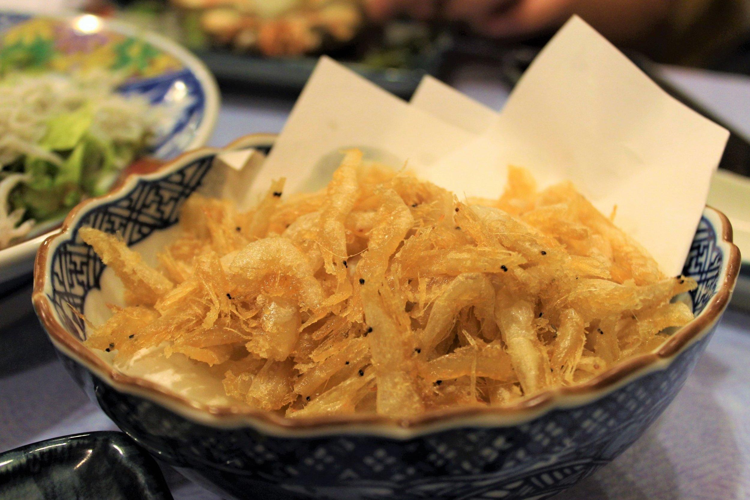 Deep-Fried White Shrimp